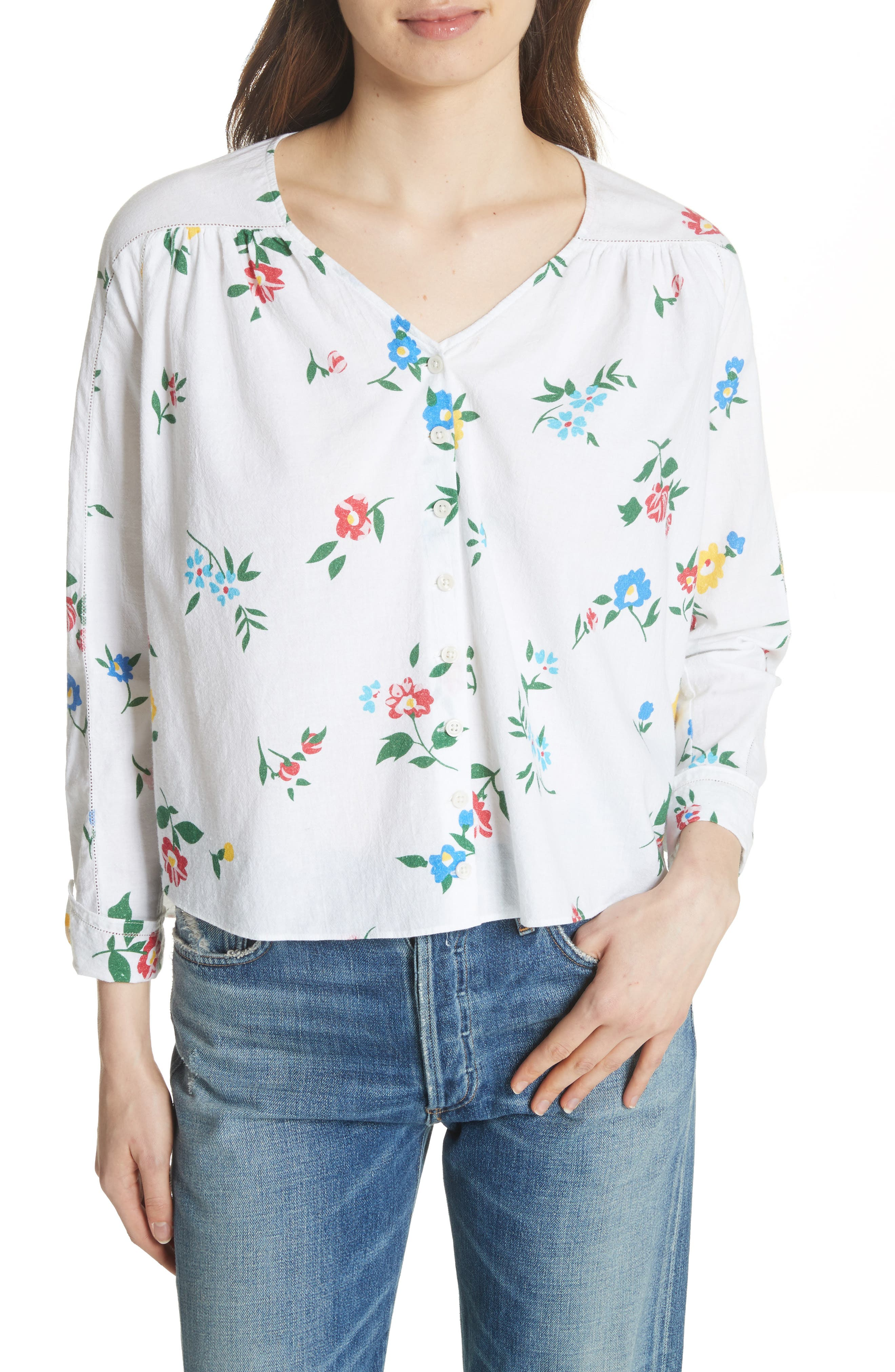 The Boutonniere Top,                             Main thumbnail 1, color,                             Western Wallflower Print