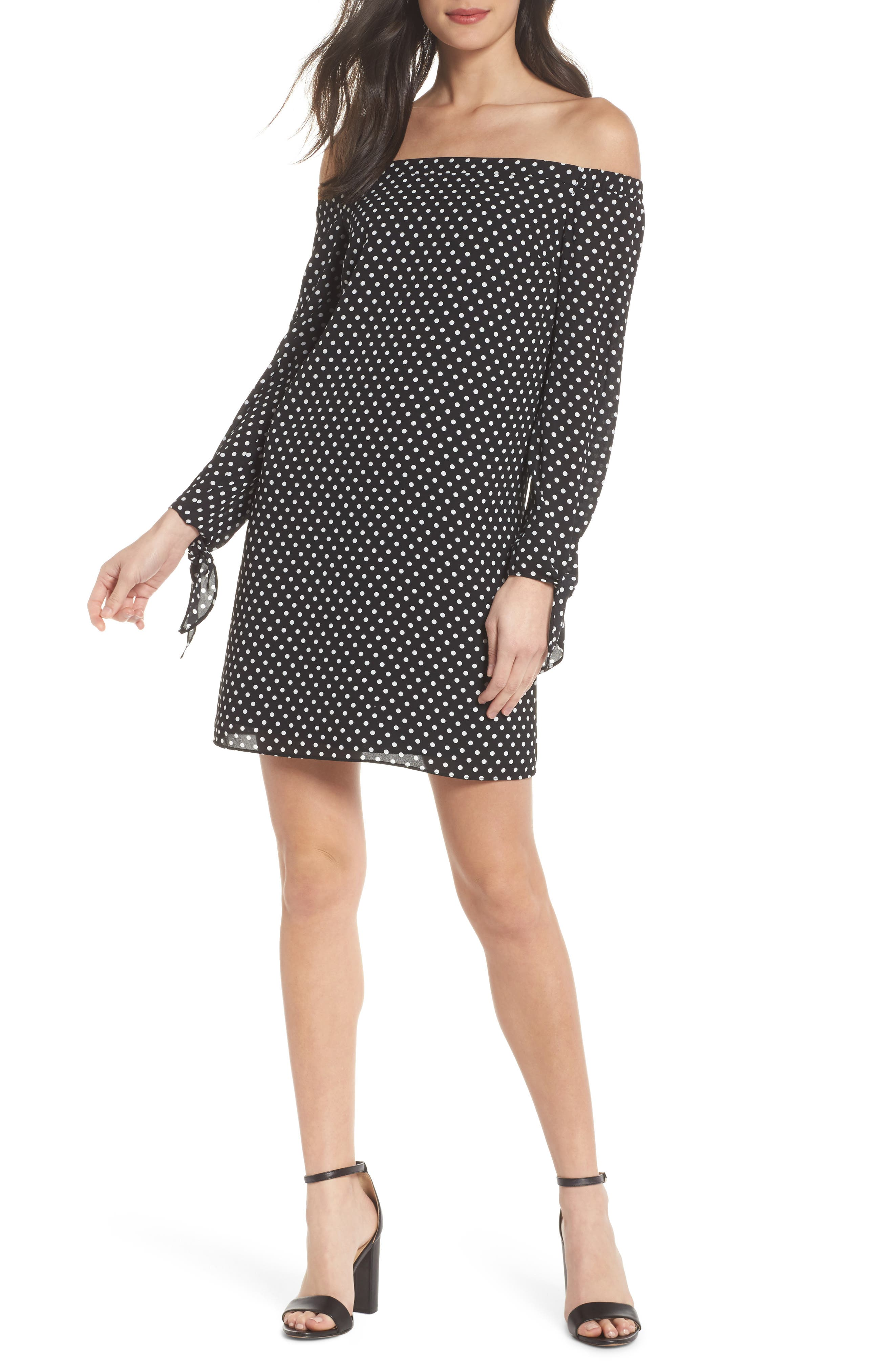 Polka Dot Off the Shoulder Minidress,                             Main thumbnail 1, color,                             Black/ White