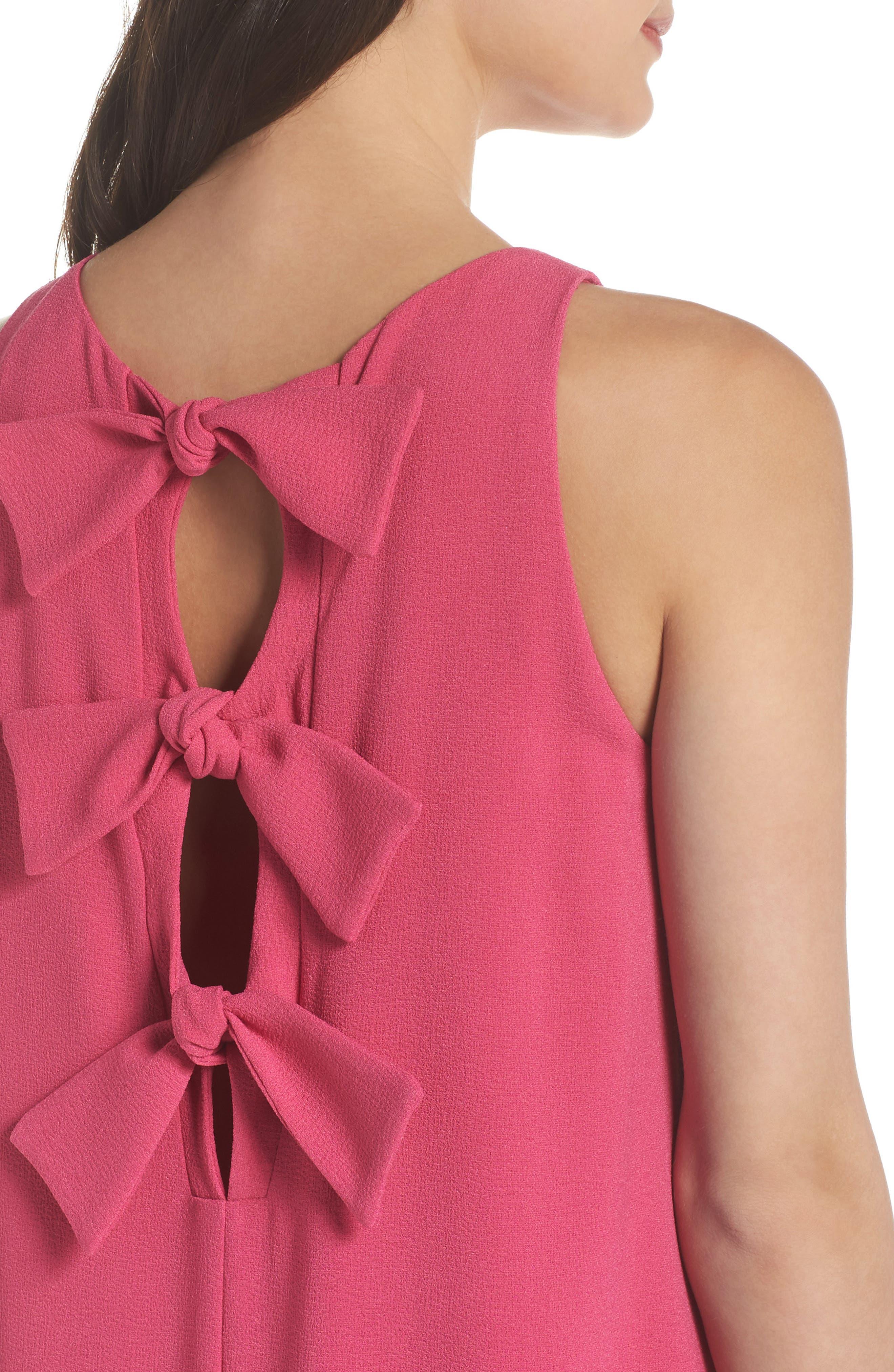 Bow Back Sleeveless Trapeze Dress,                             Alternate thumbnail 3, color,                             Magenta