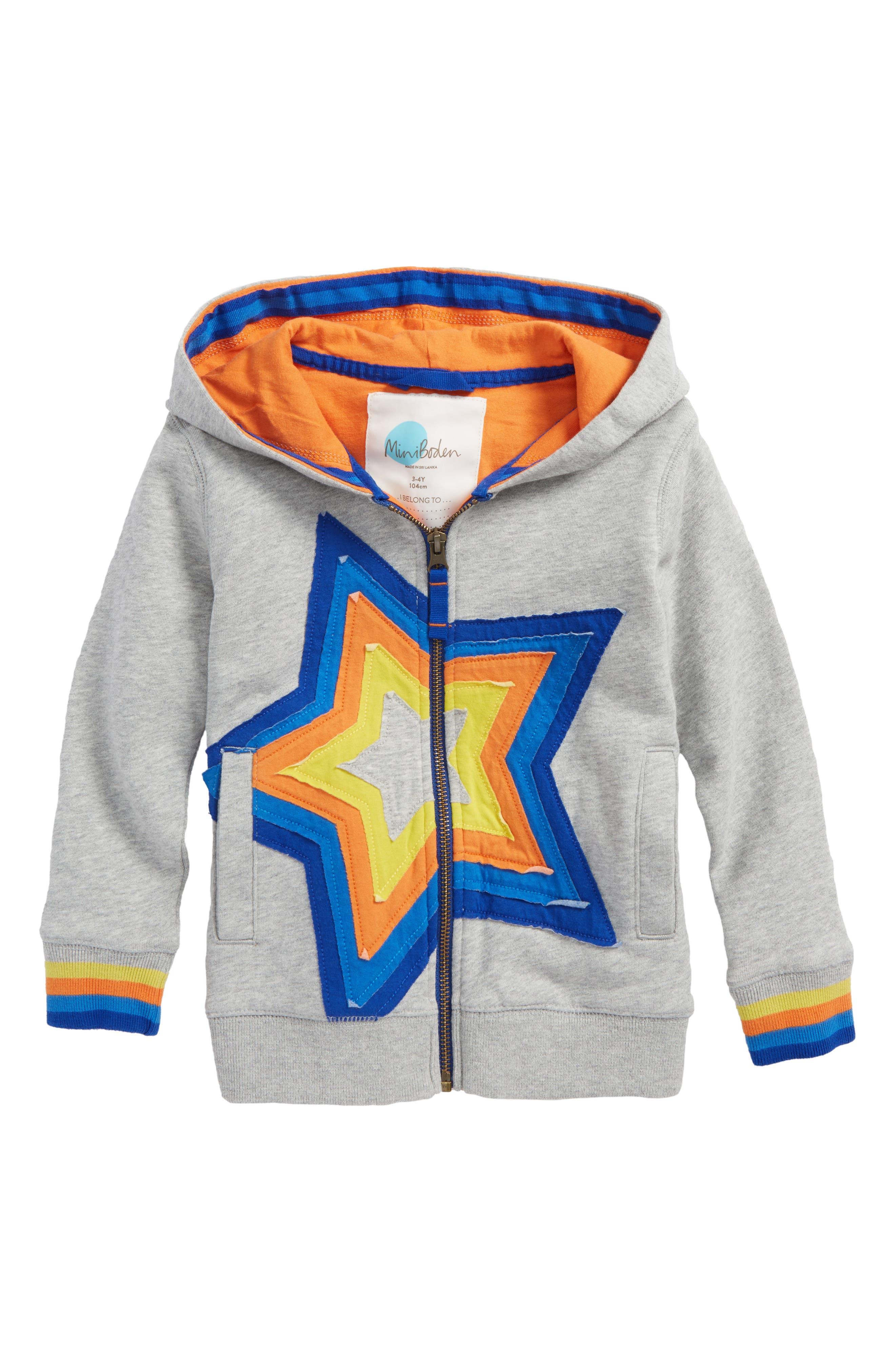 Starry Zip Hoodie,                         Main,                         color, Grey Marl