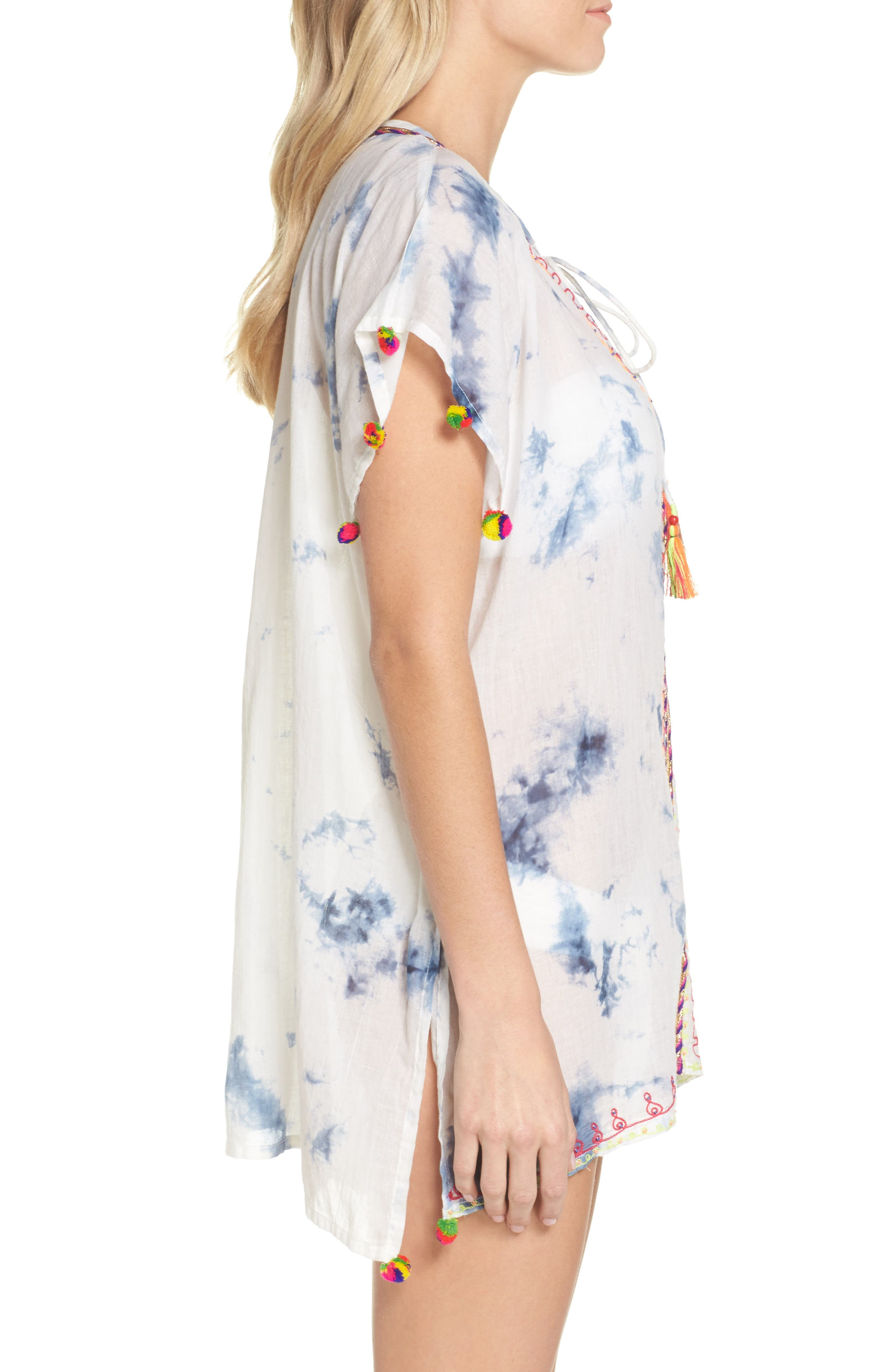 Embroidered Tie-Dye Cover-Up Tunic,                             Alternate thumbnail 3, color,                             Navy Tie Dye