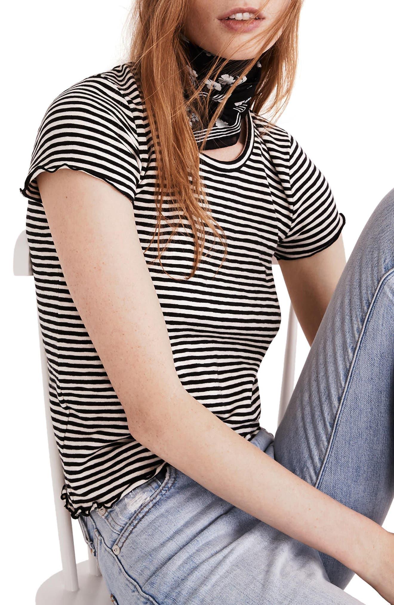 Stripe Baby Tee,                         Main,                         color, True Black