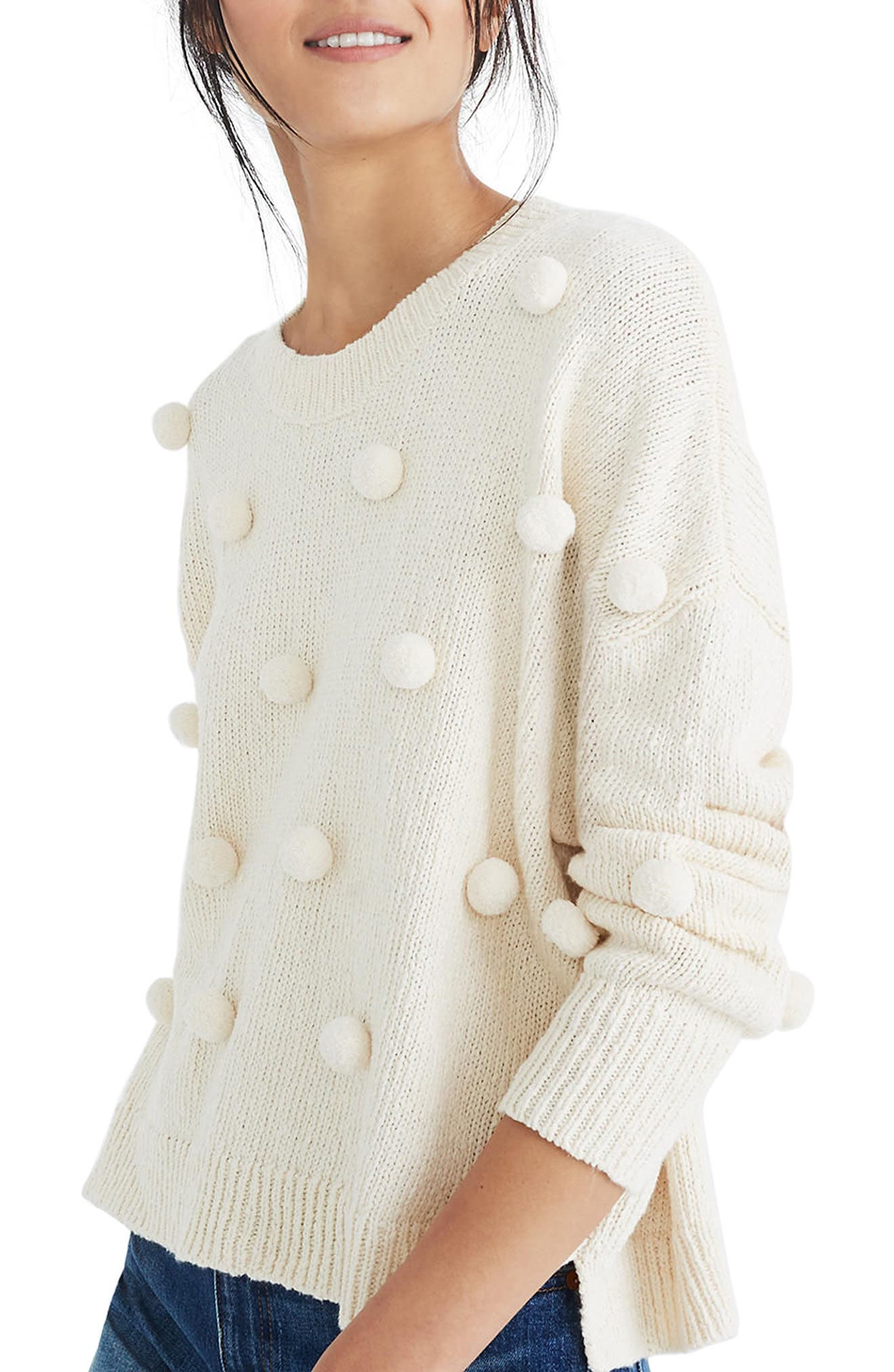 Pompom Pullover Sweater,                             Main thumbnail 1, color,                             Muslin