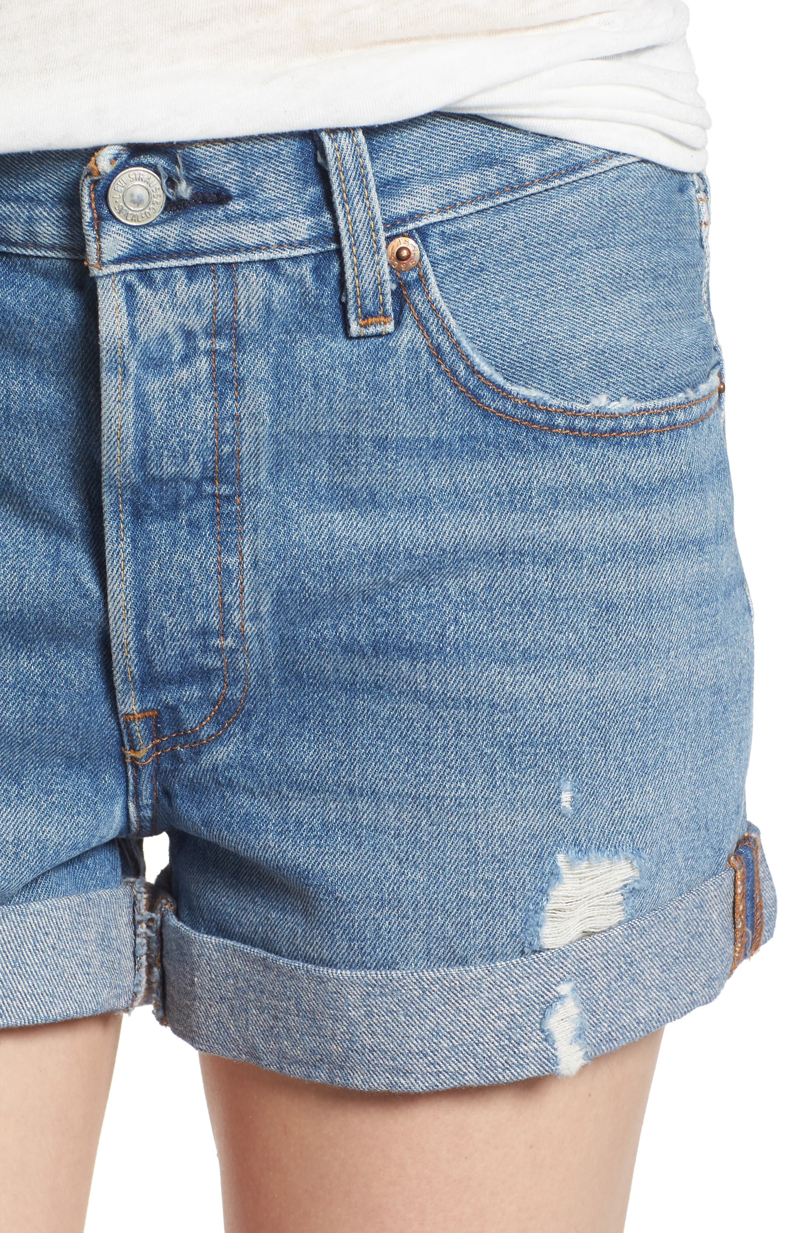 Alternate Image 4  - Levi's® 501® Long Denim Shorts (Highways & Biways)
