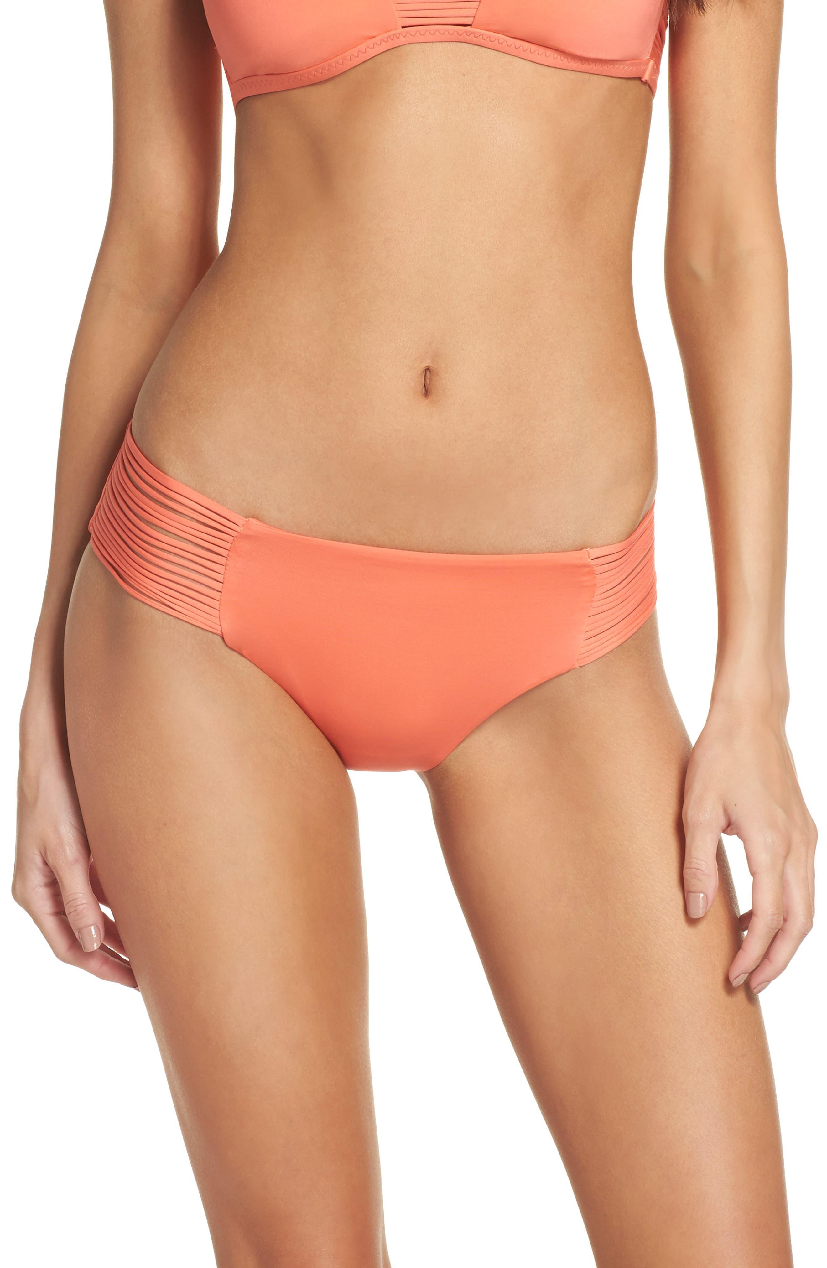 Beach Solids Maui Bikini Bottoms,                         Main,                         color, Persimmon