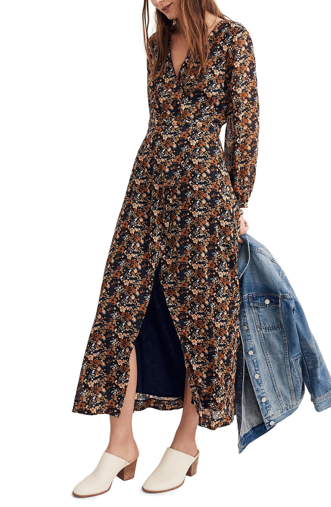 Nightflower Maxi Dress,                         Main,                         color, Woodland Floral
