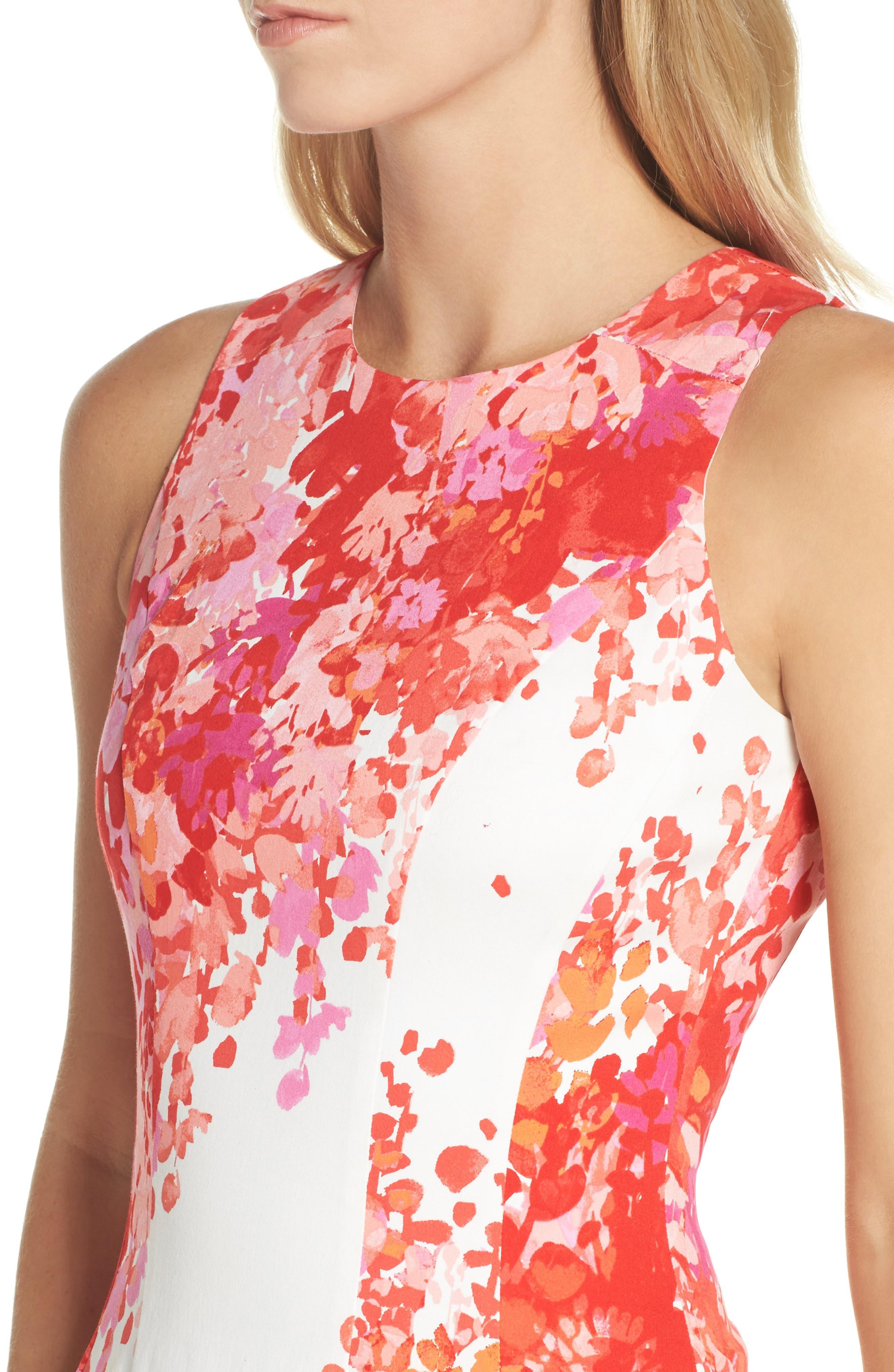 Fit & Flare Dress,                             Alternate thumbnail 4, color,                             Soft White/ Orange
