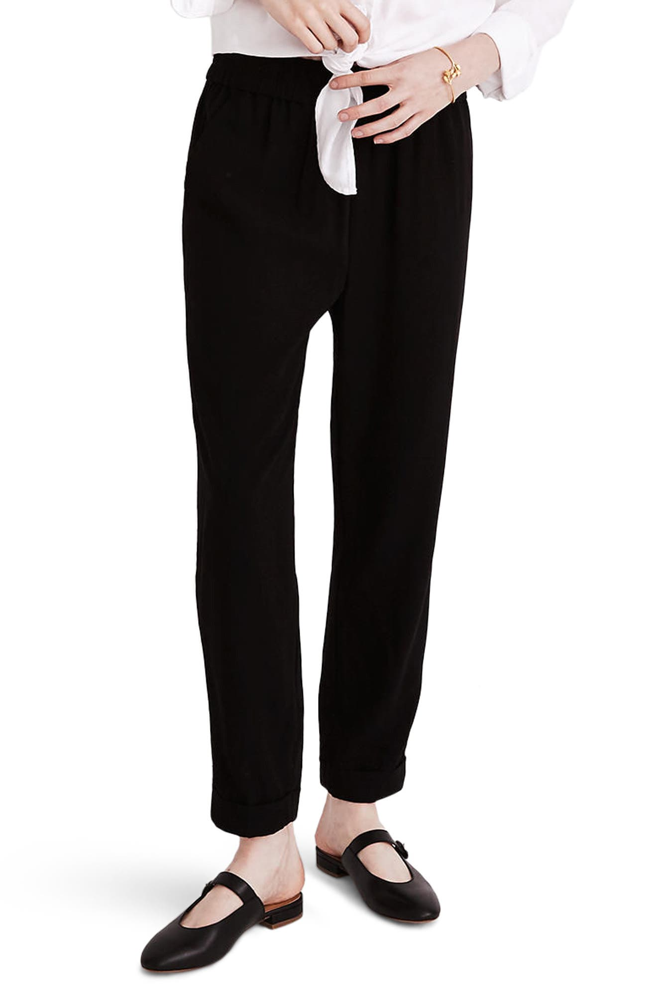 Cuffed Track Trousers,                         Main,                         color, True Black