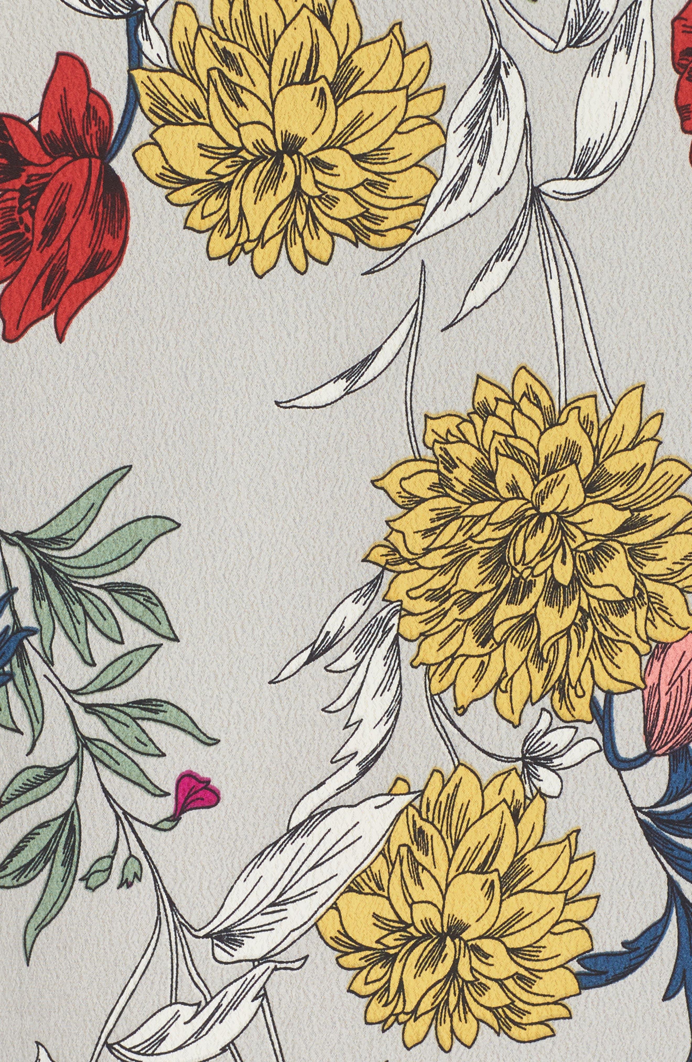 Print Bell Sleeve Shift Dress,                             Alternate thumbnail 5, color,                             Grey Multi Floral