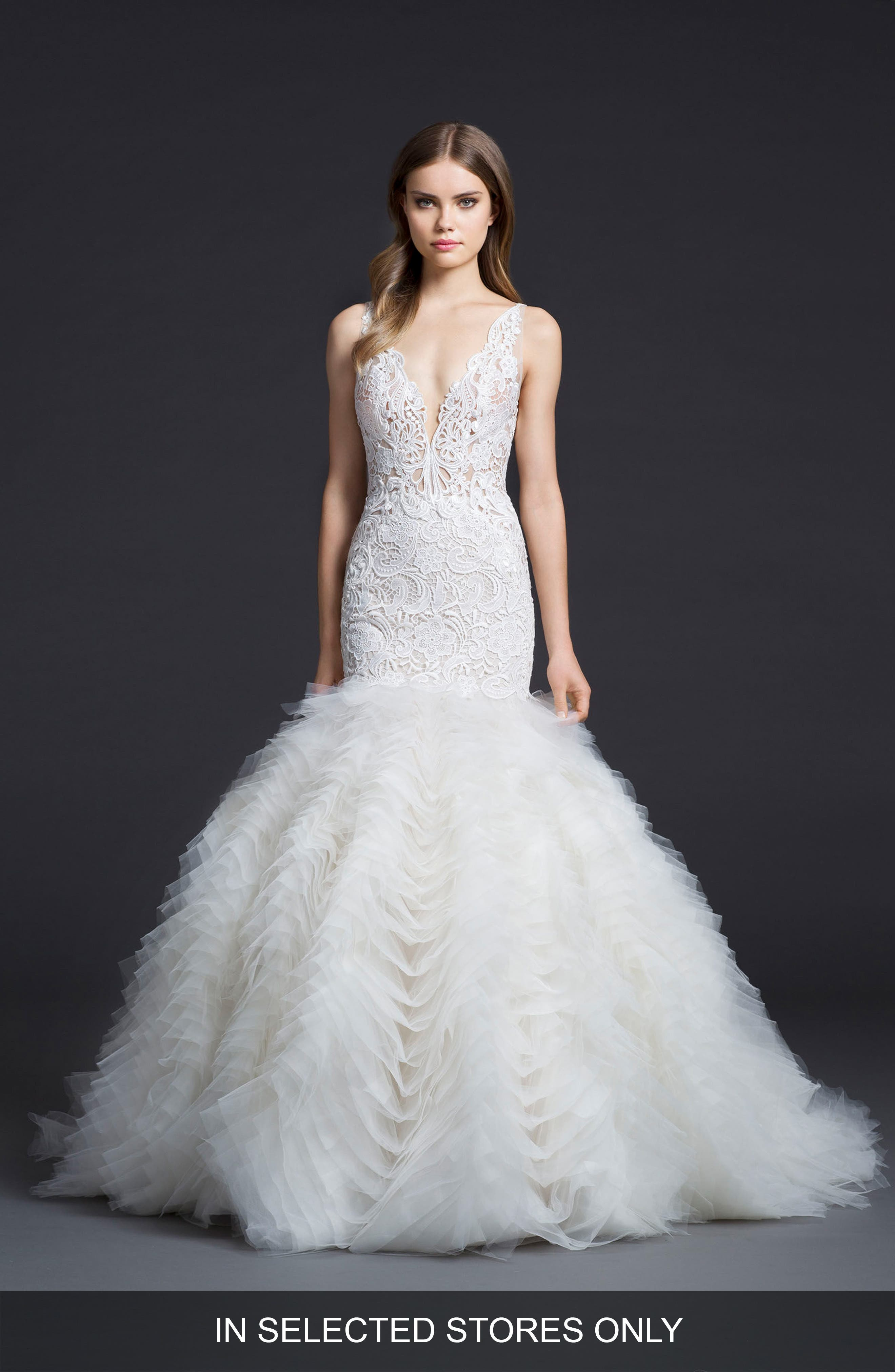 Crochet & Chiffon Mermaid Gown,                         Main,                         color, Ivory/ Cashmere