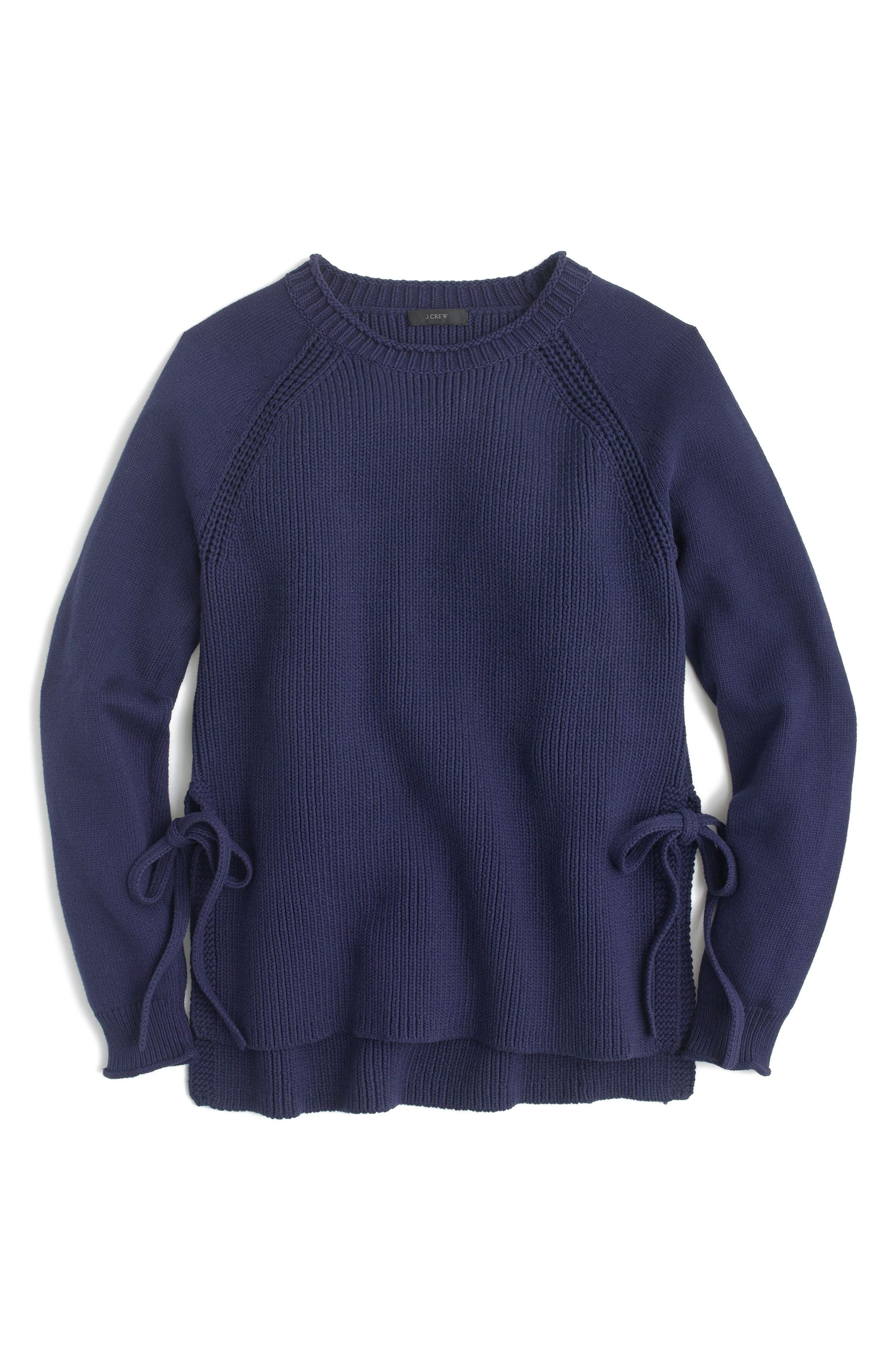 Side Tie Crewneck Sweater,                             Main thumbnail 1, color,                             Ink