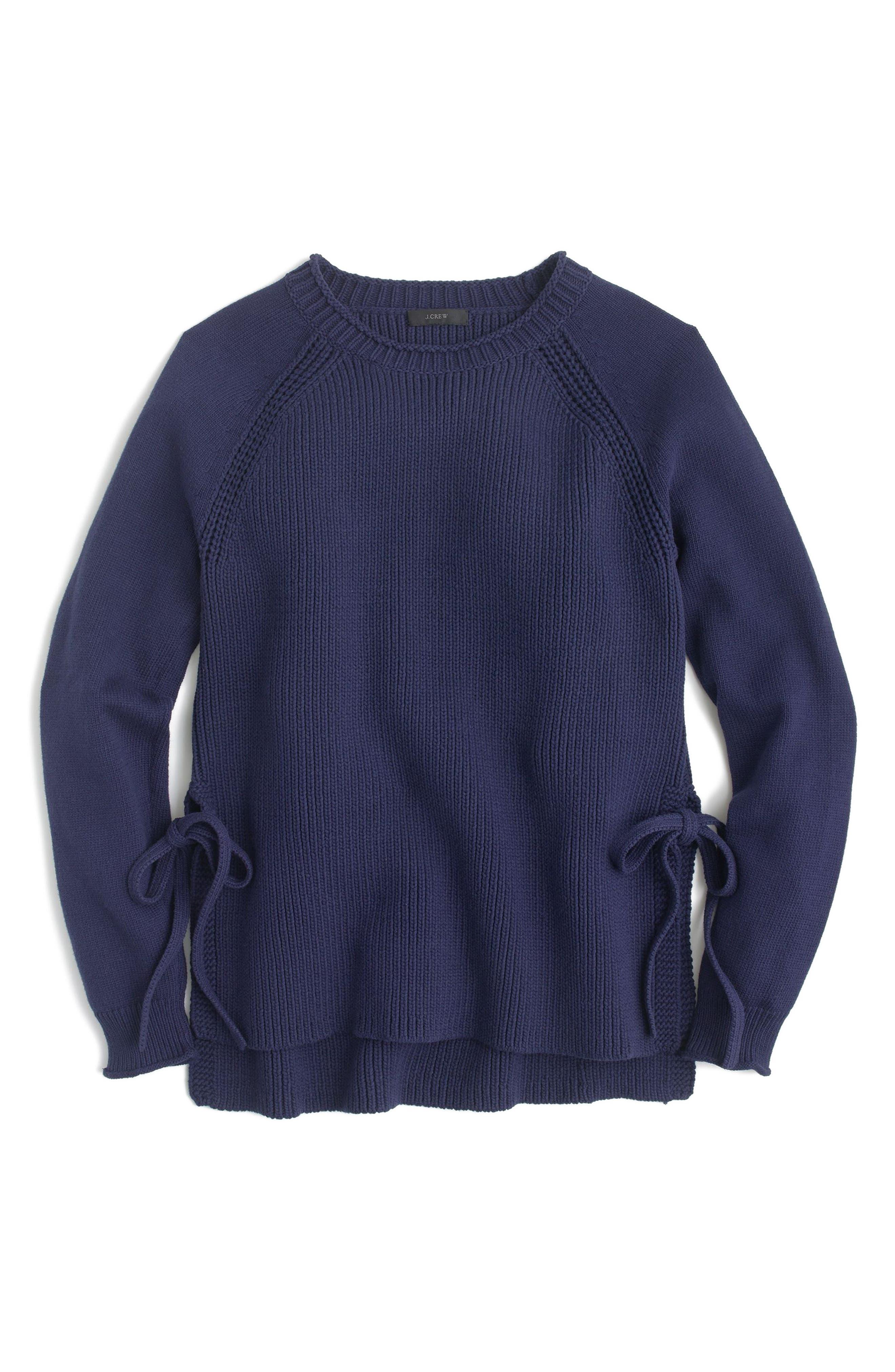 Side Tie Crewneck Sweater,                         Main,                         color, Ink