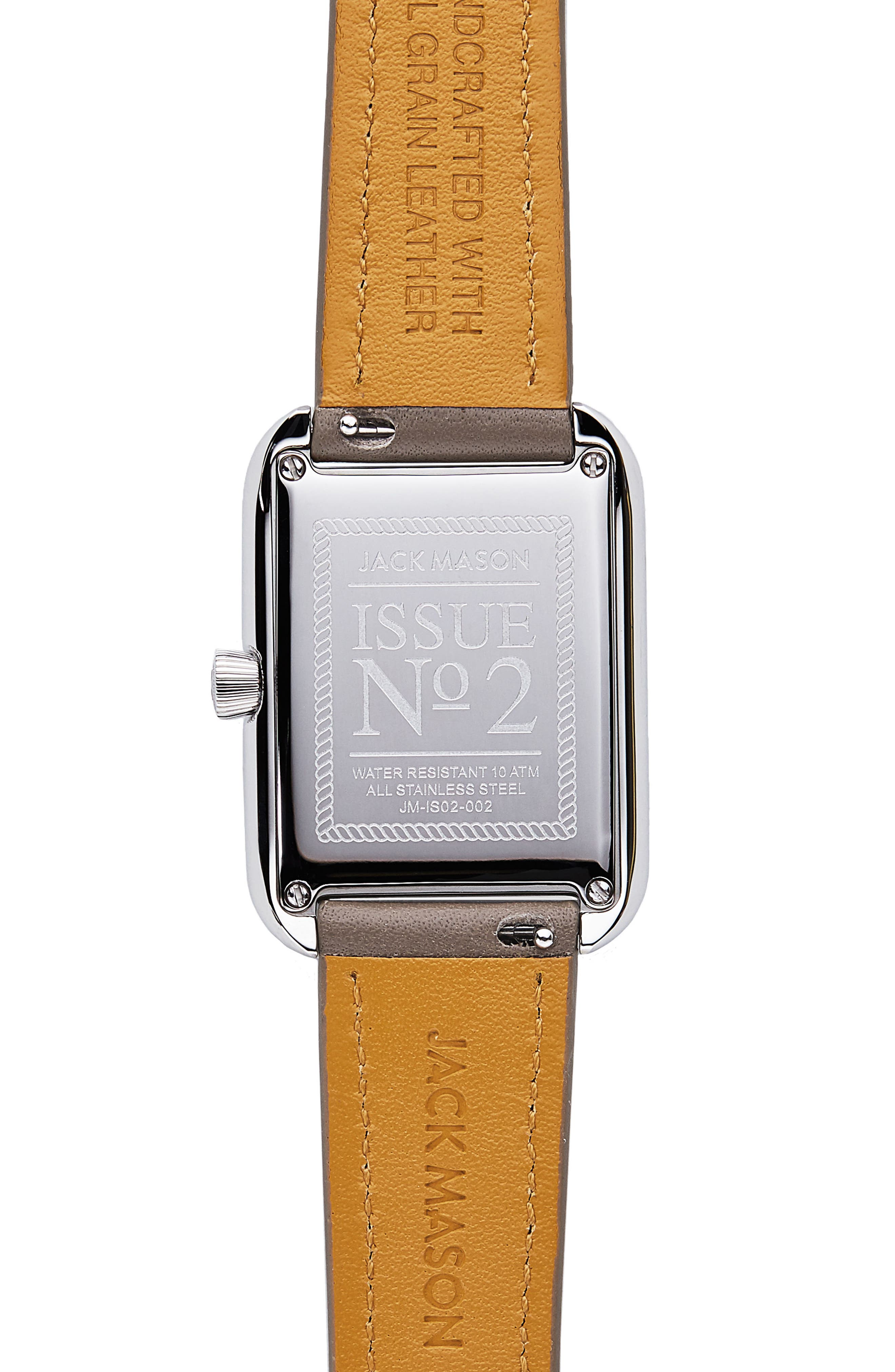 Issue No. 2 Leather Strap Watch, 34mm x 28mm,                             Alternate thumbnail 3, color,                             Taupe/ Mop/ Silver