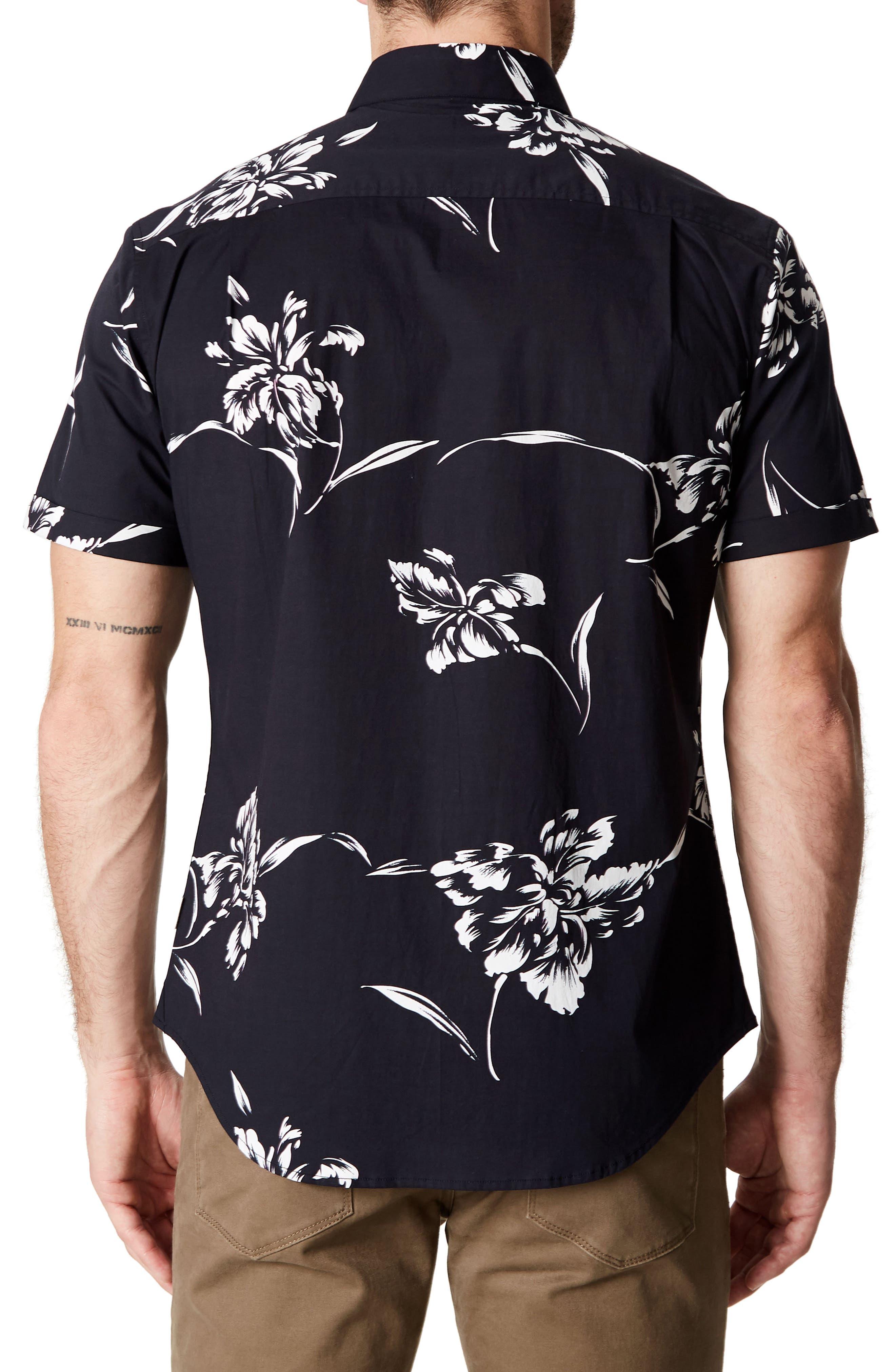 Harvest Moon Trim Fit Short Sleeve Sport Shirt,                             Alternate thumbnail 2, color,                             Black