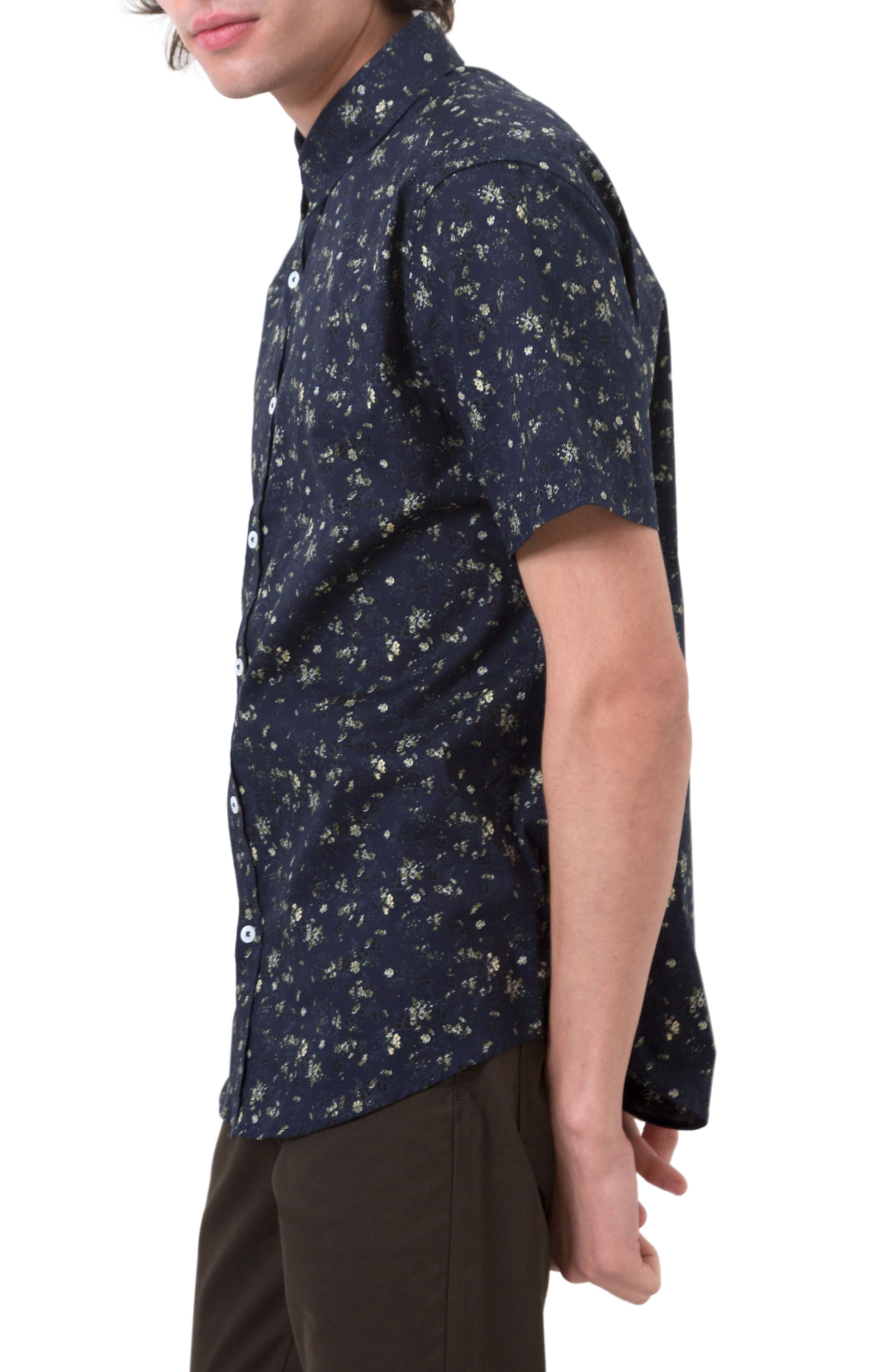 Jungle Youth Trim Fit Short Sleeve Sport Shirt,                             Alternate thumbnail 3, color,                             Navy