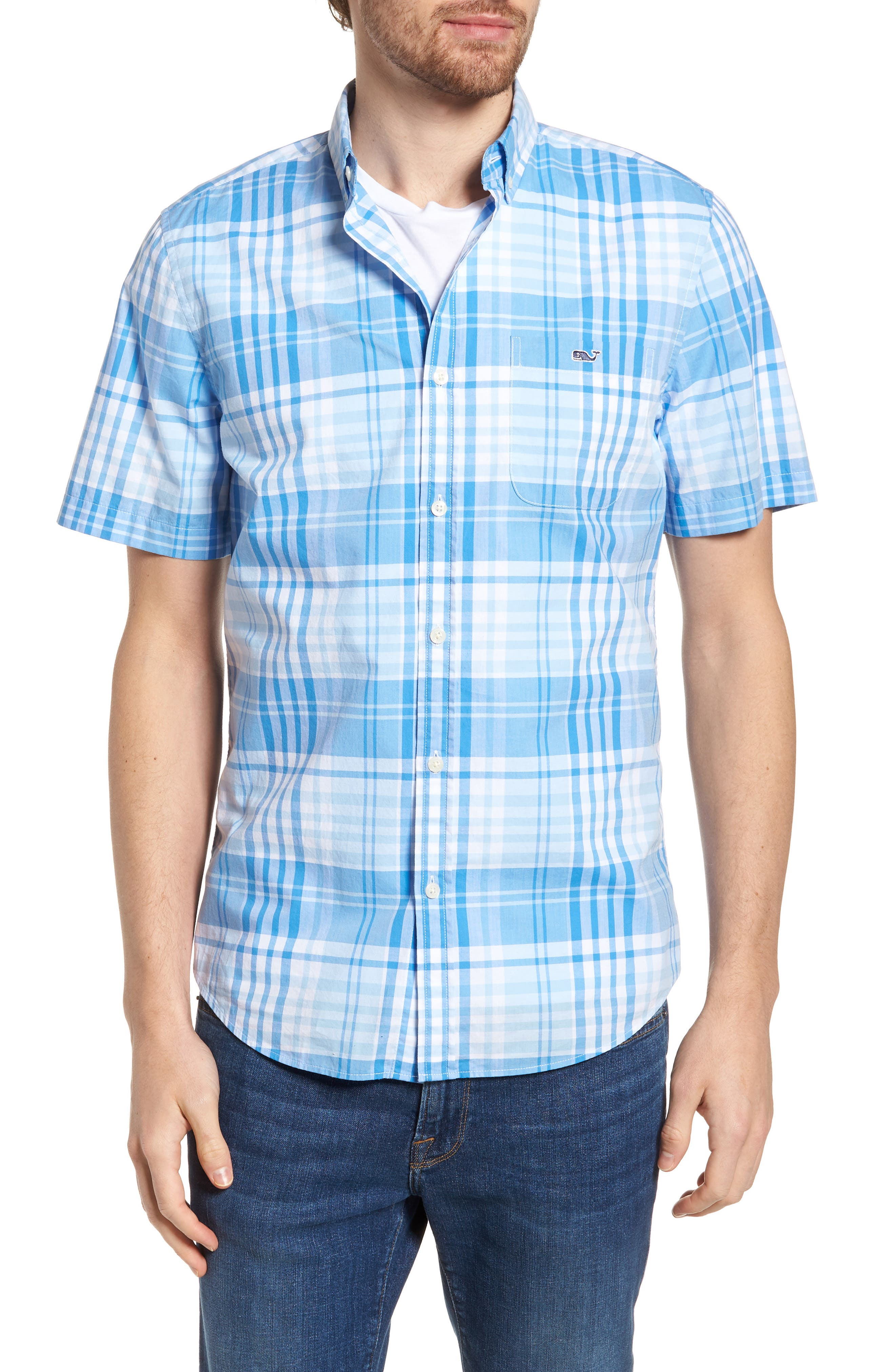 Crawfish Plaid Slim Fit Sport Shirt,                             Main thumbnail 1, color,                             Jake Blue