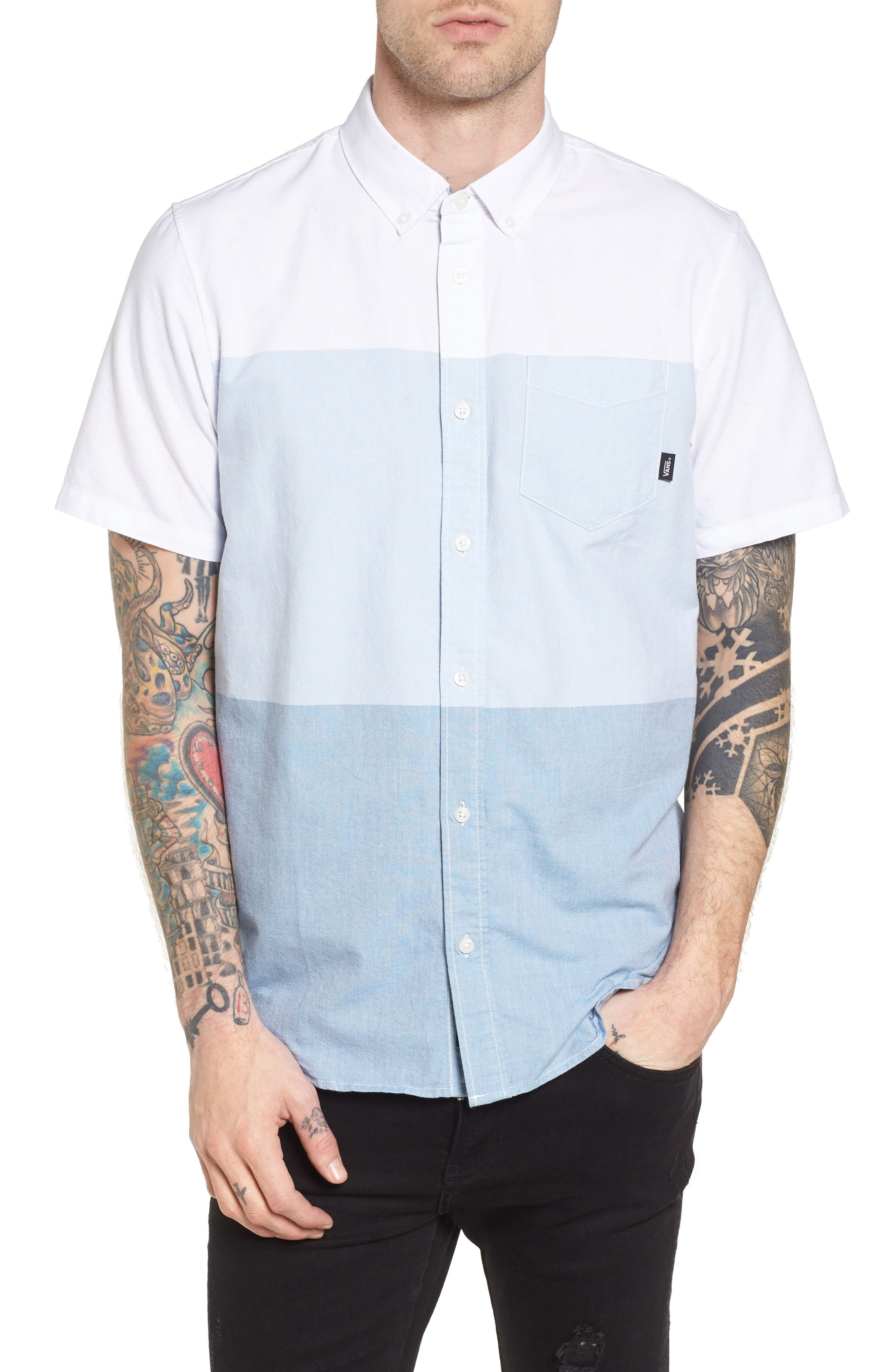 Houser Woven Shirt,                         Main,                         color, White/ Real Teal