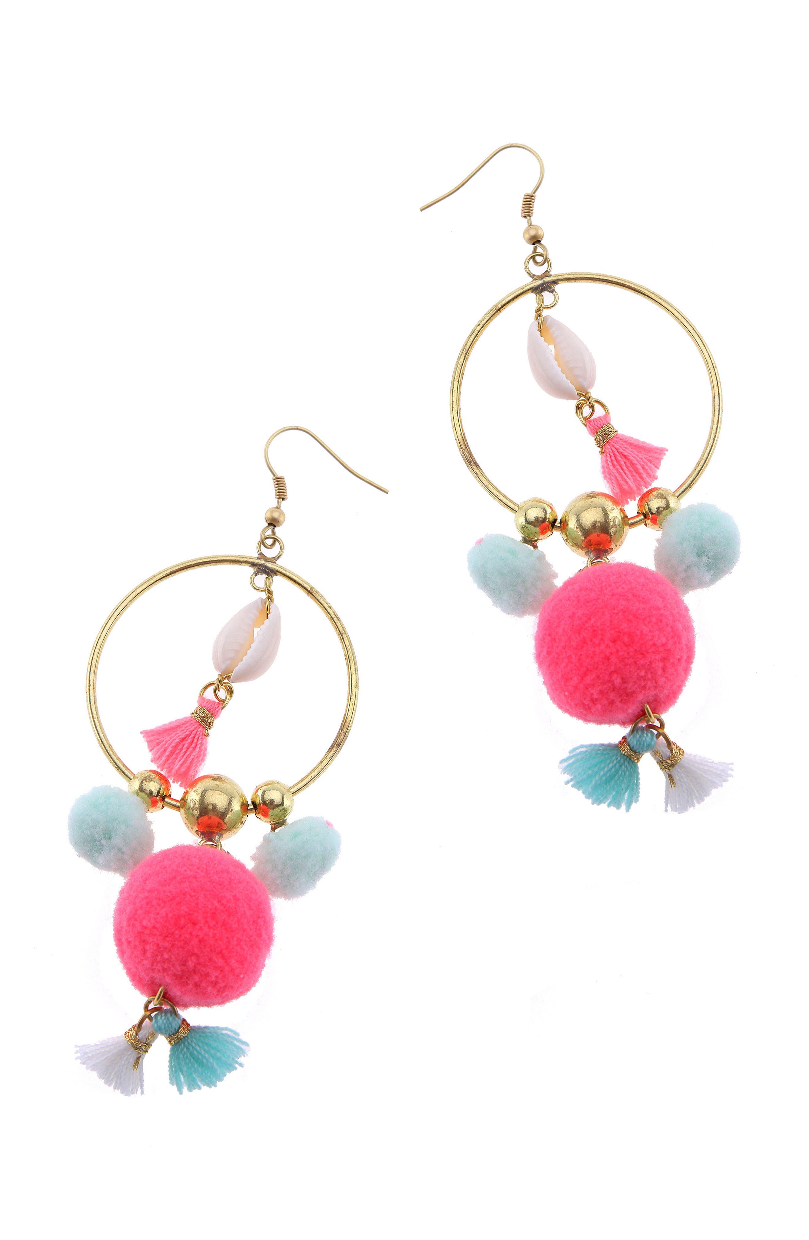 Pom Hoop Earrings,                         Main,                         color, Pink Multi
