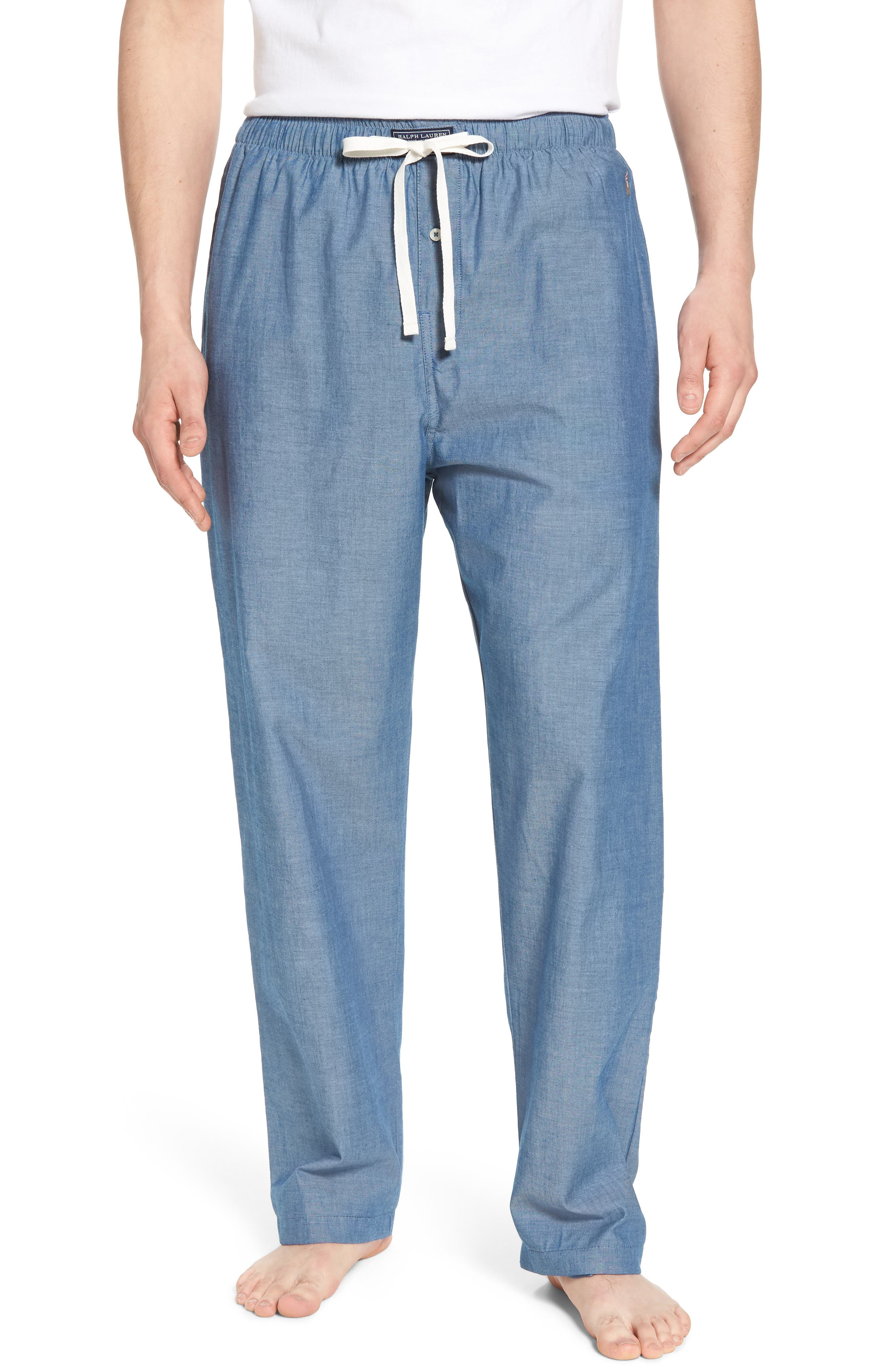 Chambray Woven Lounge Pants,                         Main,                         color, Medium Indigo/ Dark Indigo