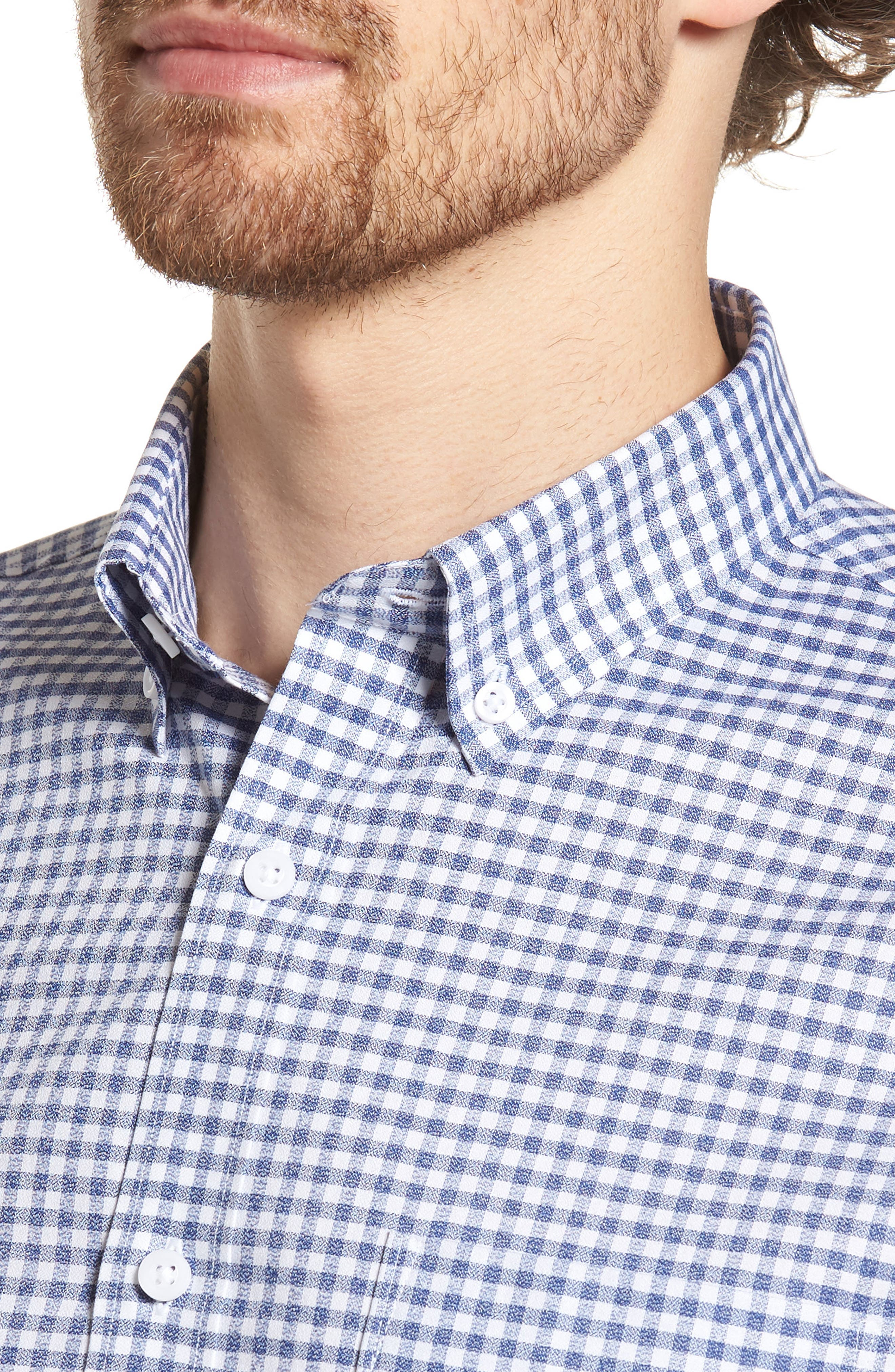Trim Fit Check Sport Shirt,                             Alternate thumbnail 2, color,                             Navy White Jacquard Gingham