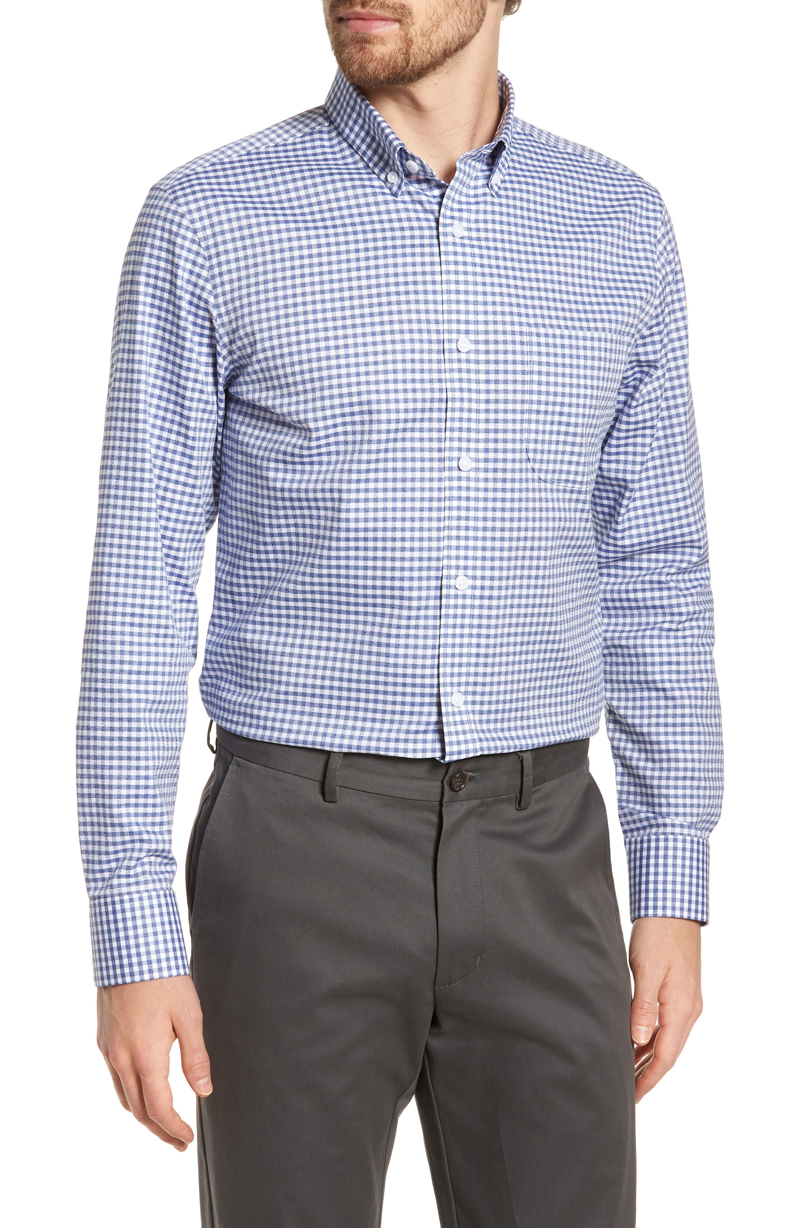 Trim Fit Check Sport Shirt,                         Main,                         color, Navy White Jacquard Gingham