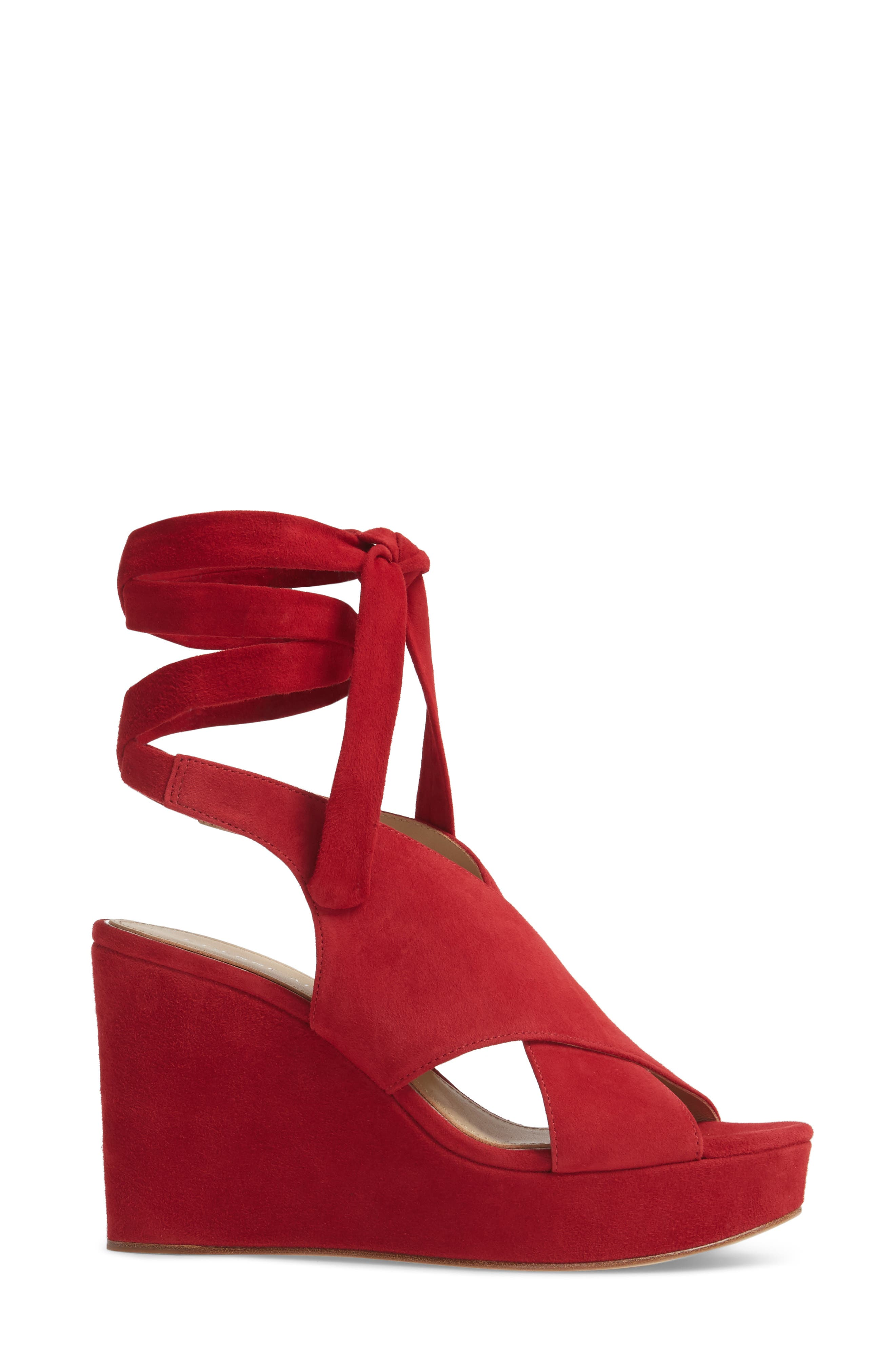 Dominica Platform Wedge Sandal,                             Alternate thumbnail 3, color,                             Cherry Suede