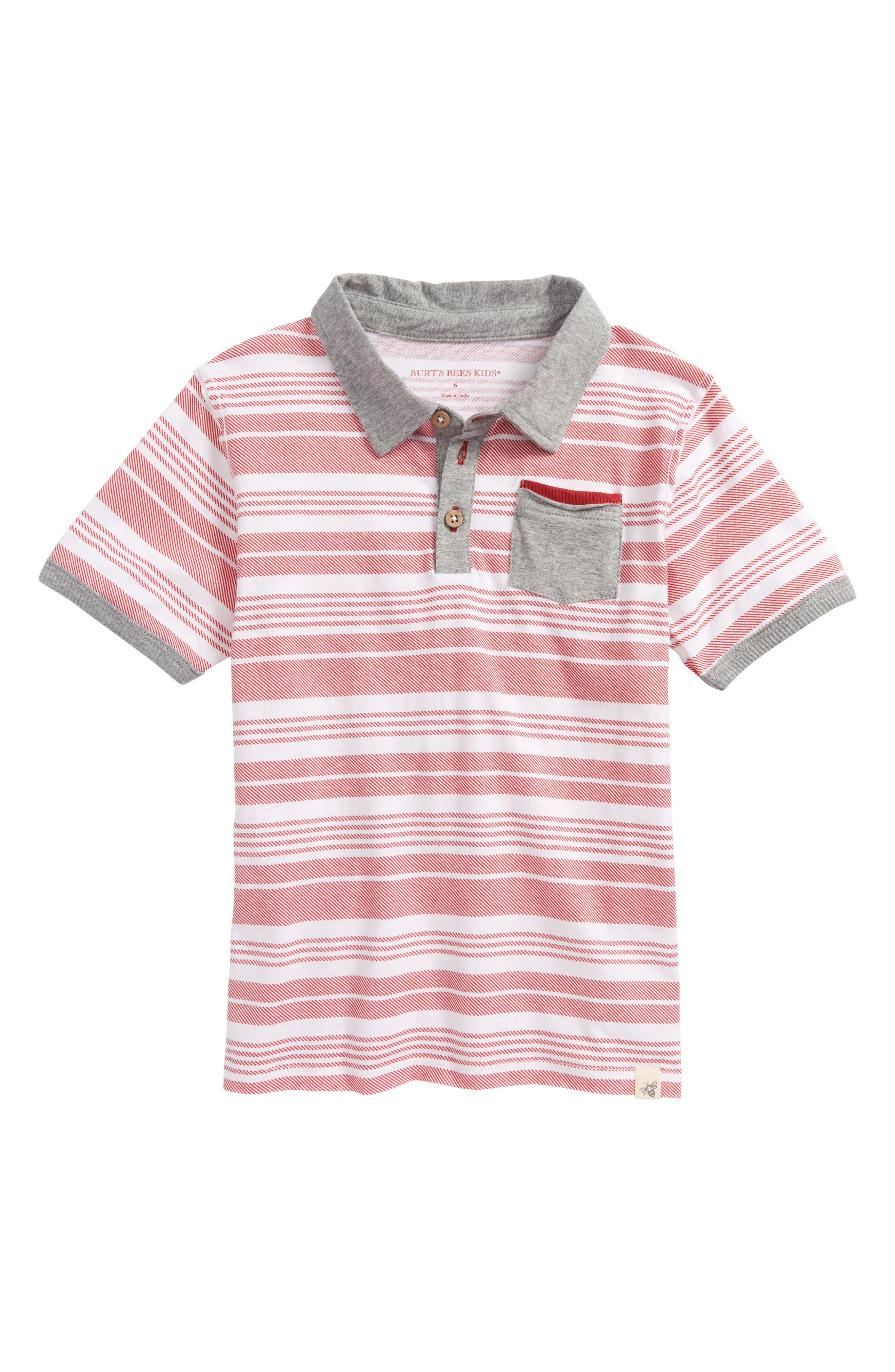 Faux Twill Organic Cotton Polo,                             Main thumbnail 1, color,                             Red Barn