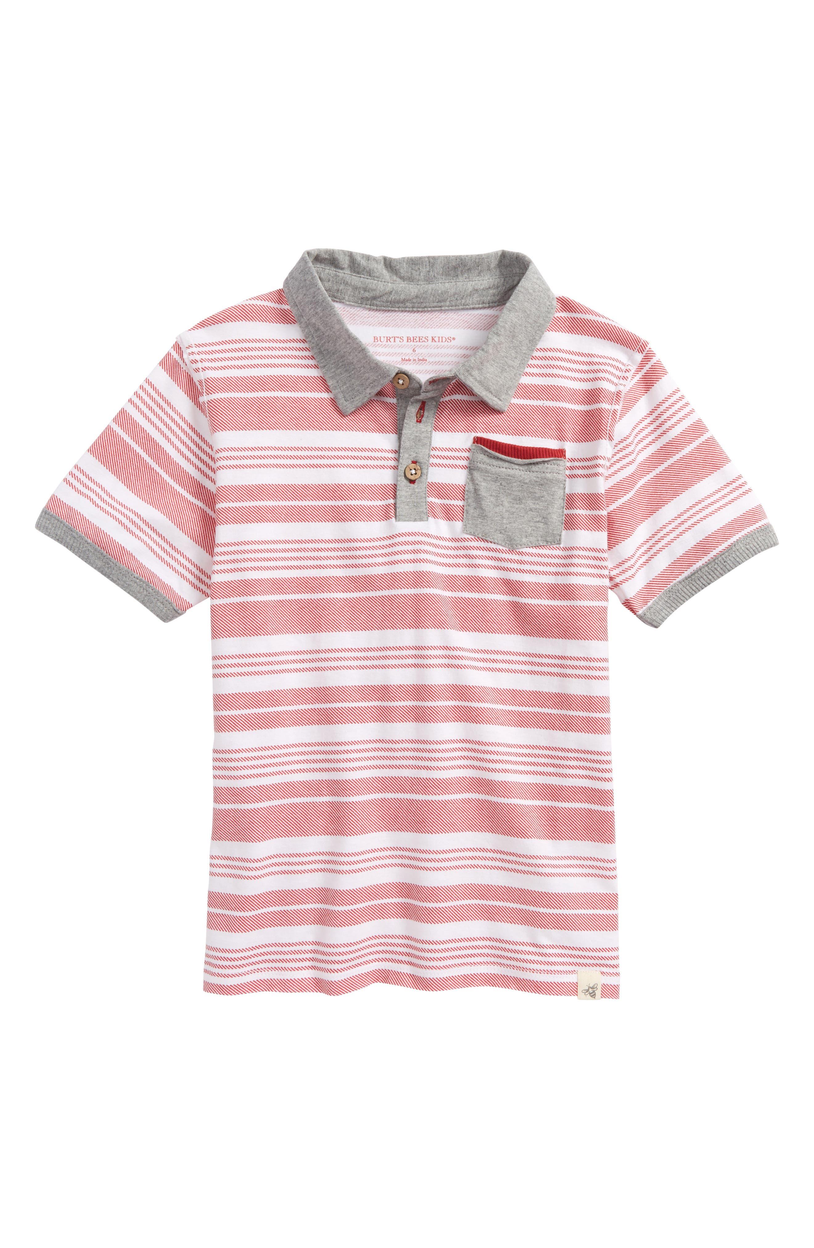 Faux Twill Organic Cotton Polo,                         Main,                         color, Red Barn