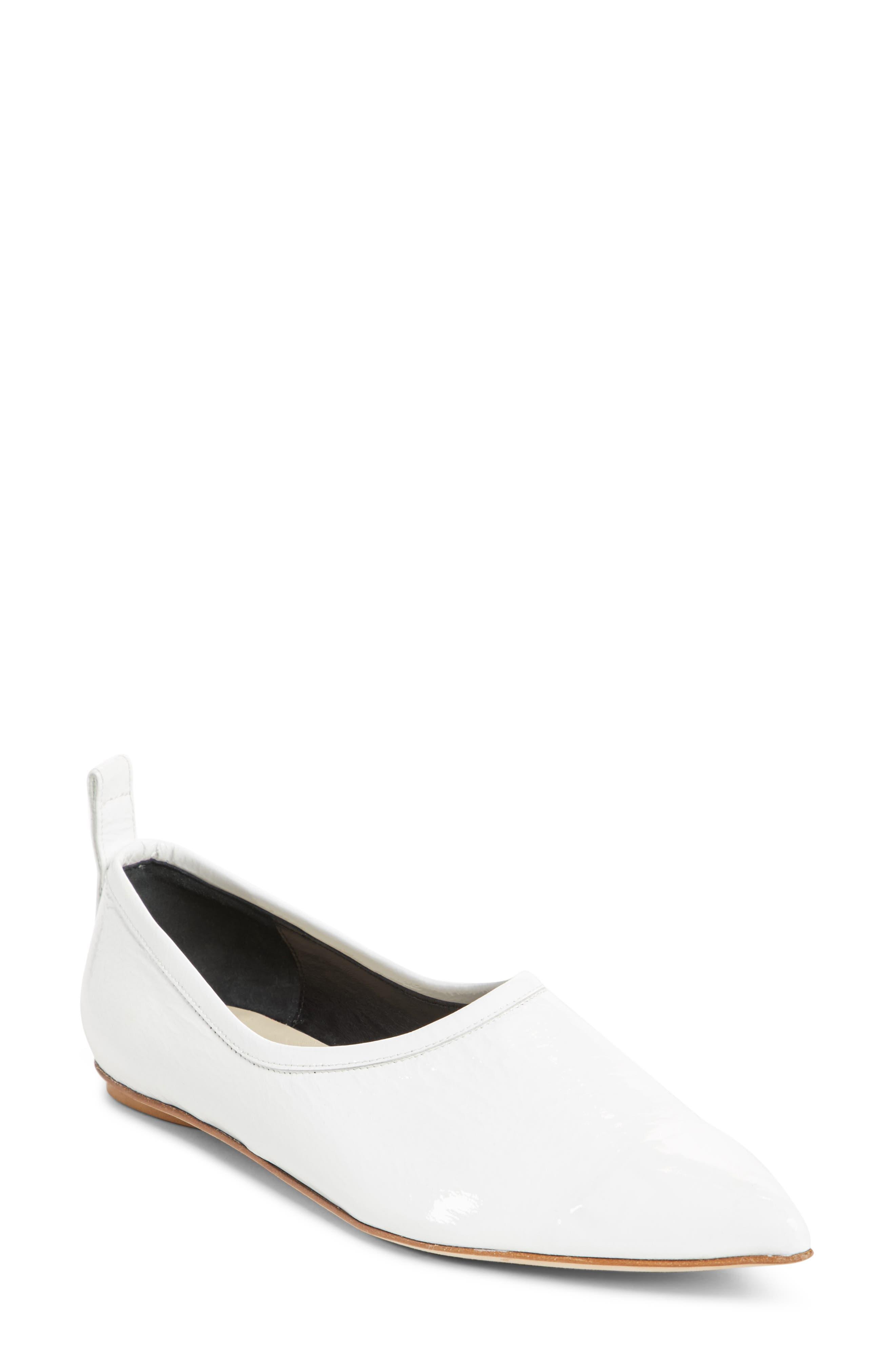 John Pointy Toe Flat,                         Main,                         color, Bright White