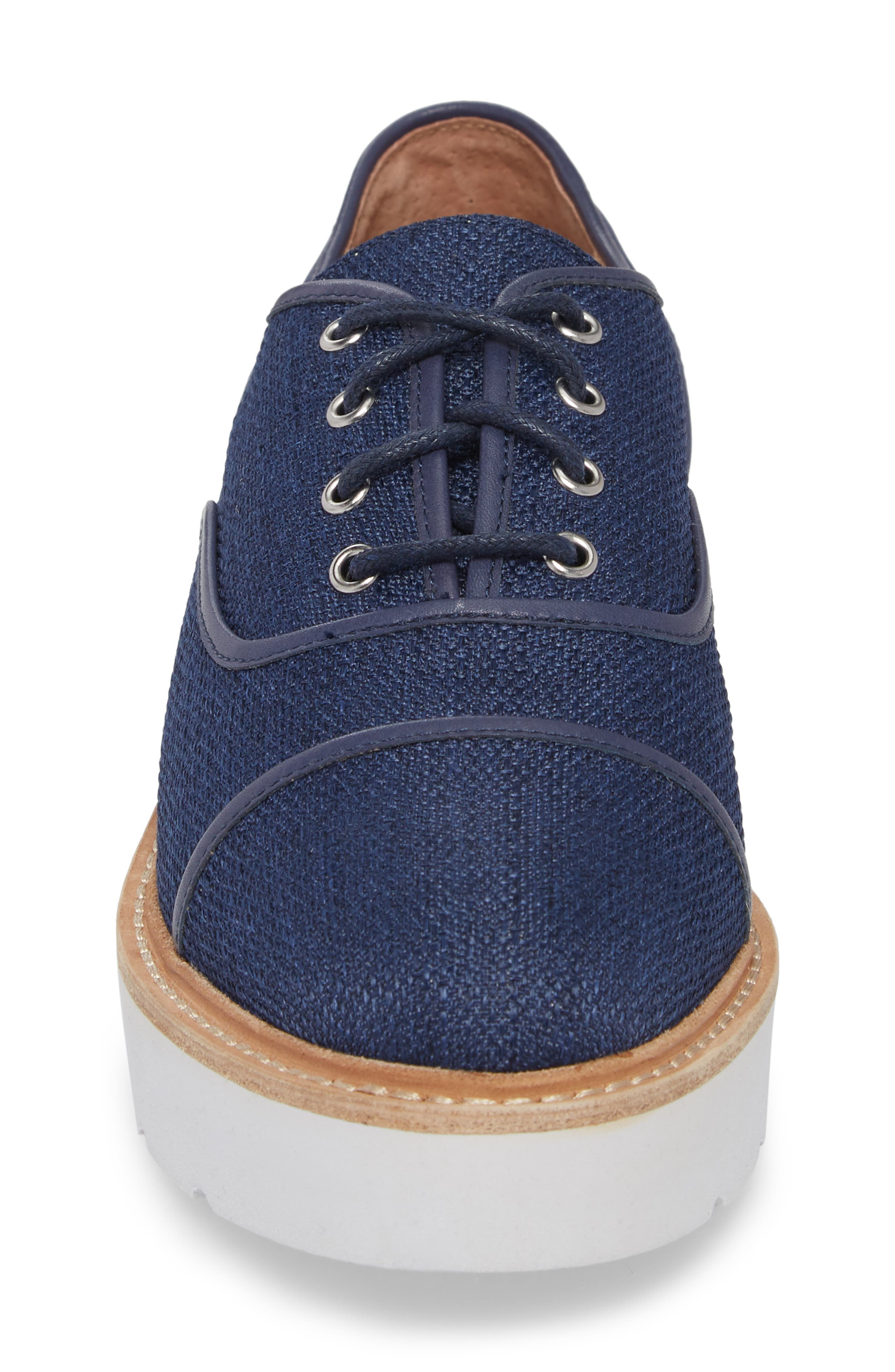 Mavis Cap Toe Platform Sneaker,                             Alternate thumbnail 4, color,                             Blue Fabric