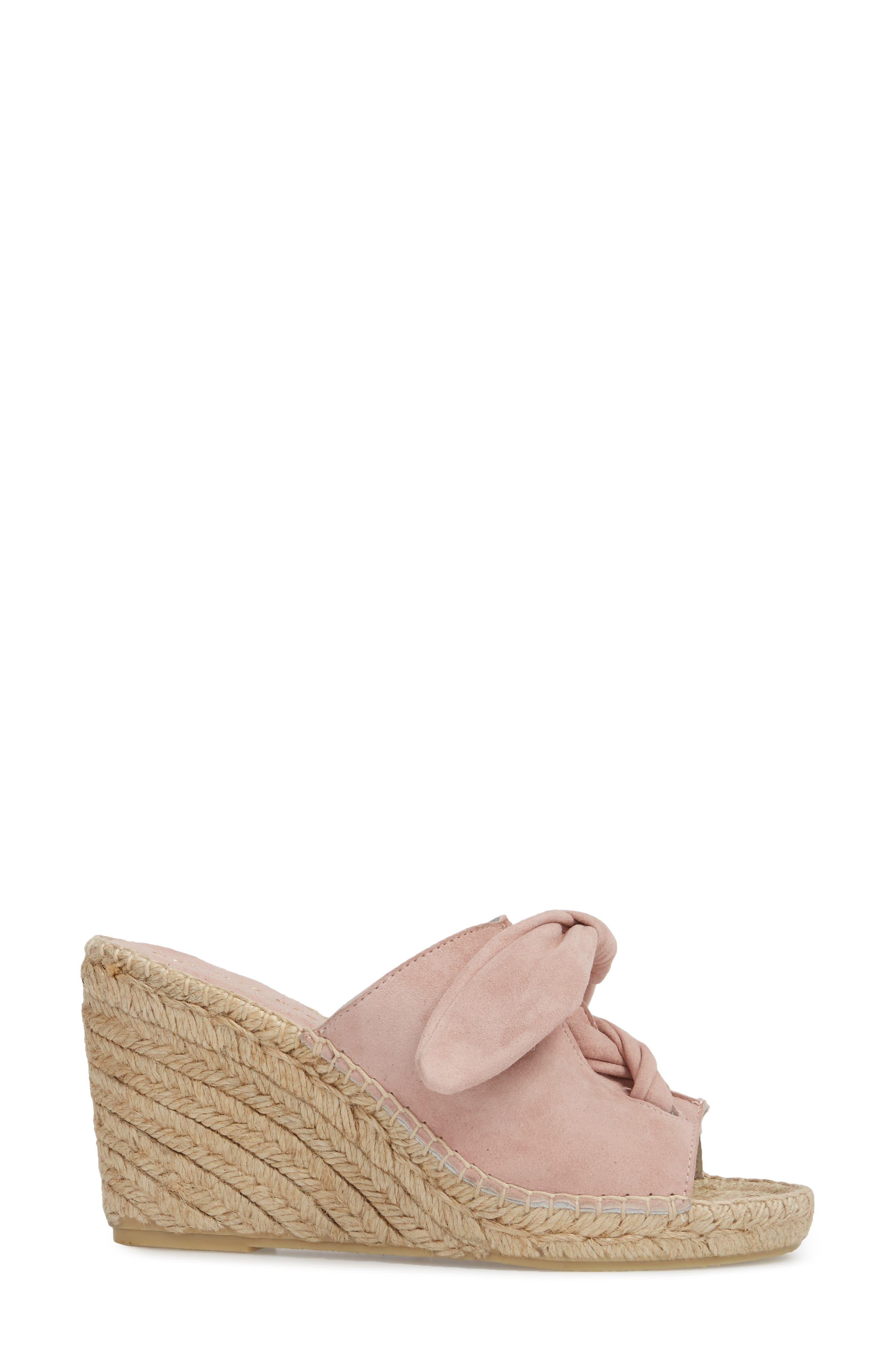 Flirt Espadrille Wedge Sandal,                             Alternate thumbnail 3, color,                             Pink Suede