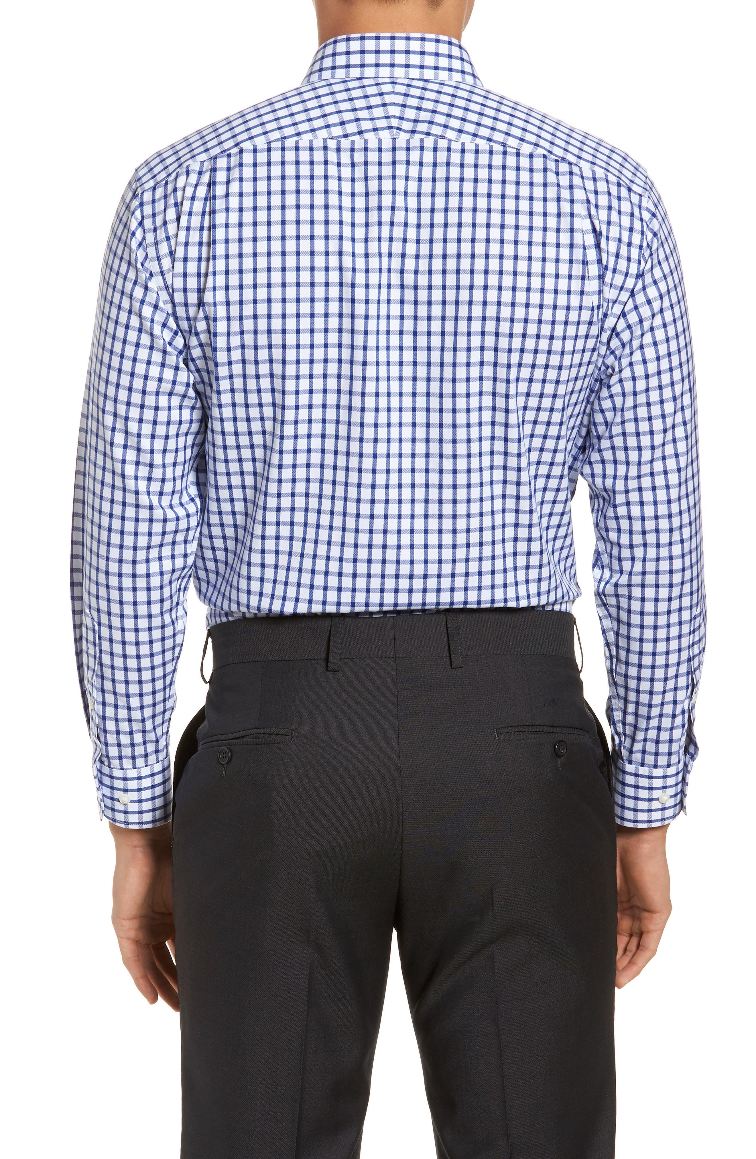 Smartcare<sup>™</sup> Trim Fit Check Dress Shirt,                             Alternate thumbnail 3, color,                             Blue Mazarine