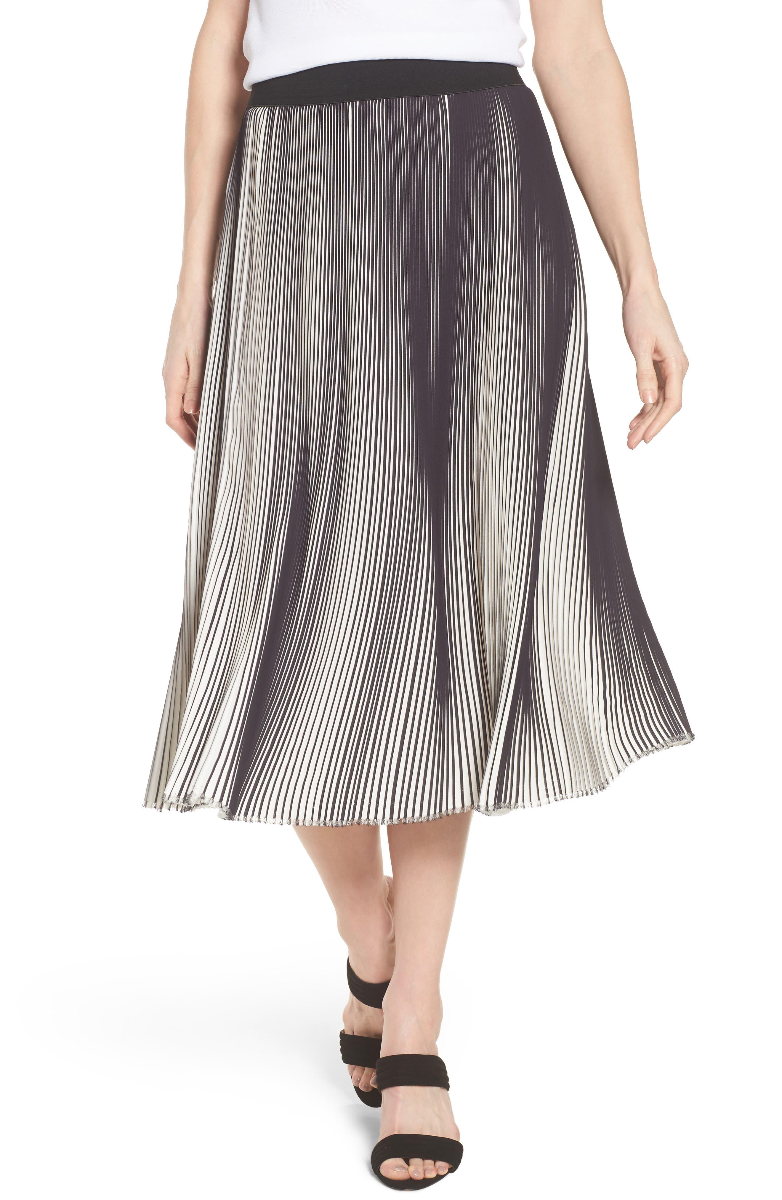 Ming Wang Stripe Pleat A-Line Skirt