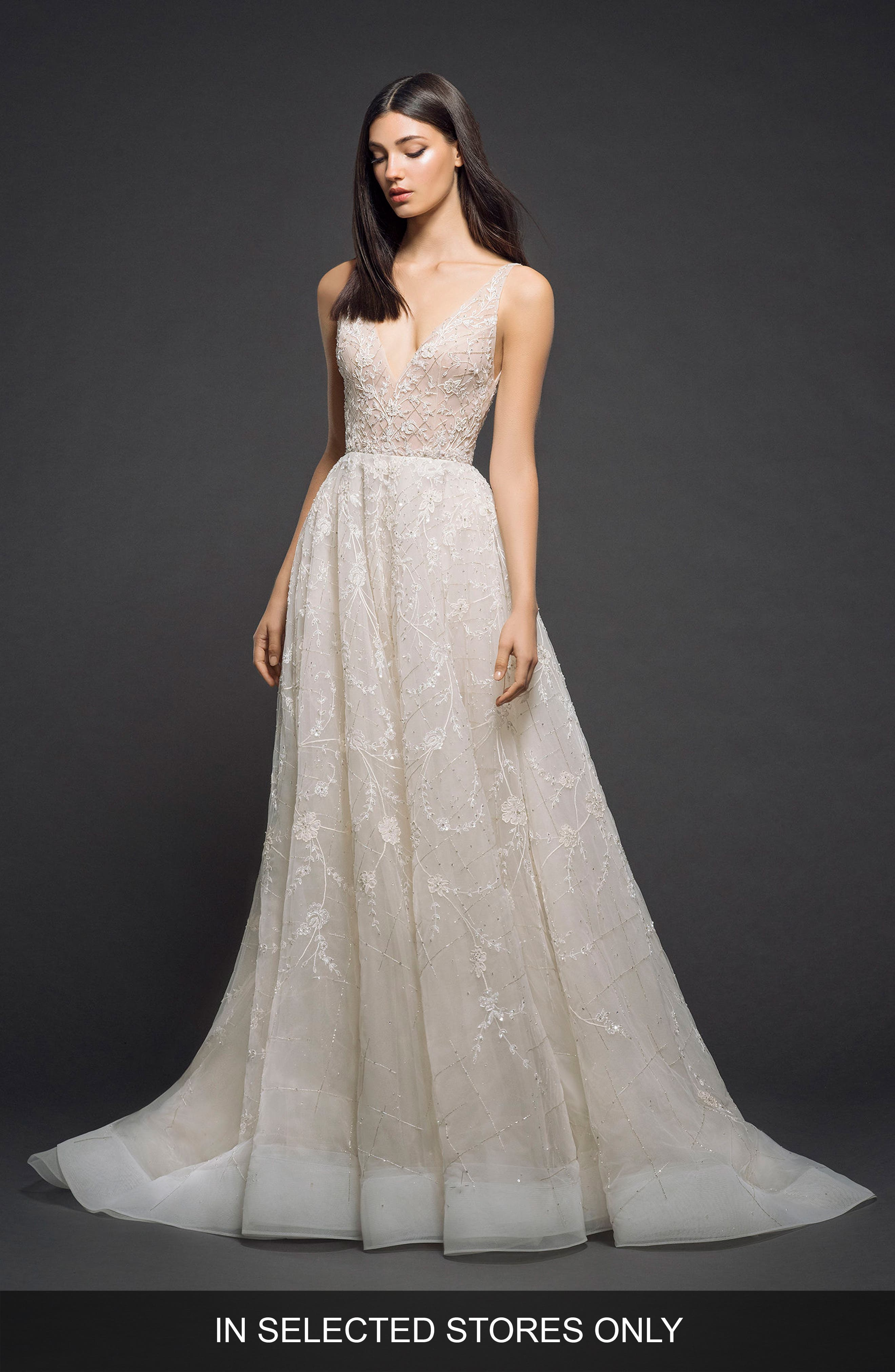 Embellished Organza Gown,                             Main thumbnail 1, color,                             Champagne Nude