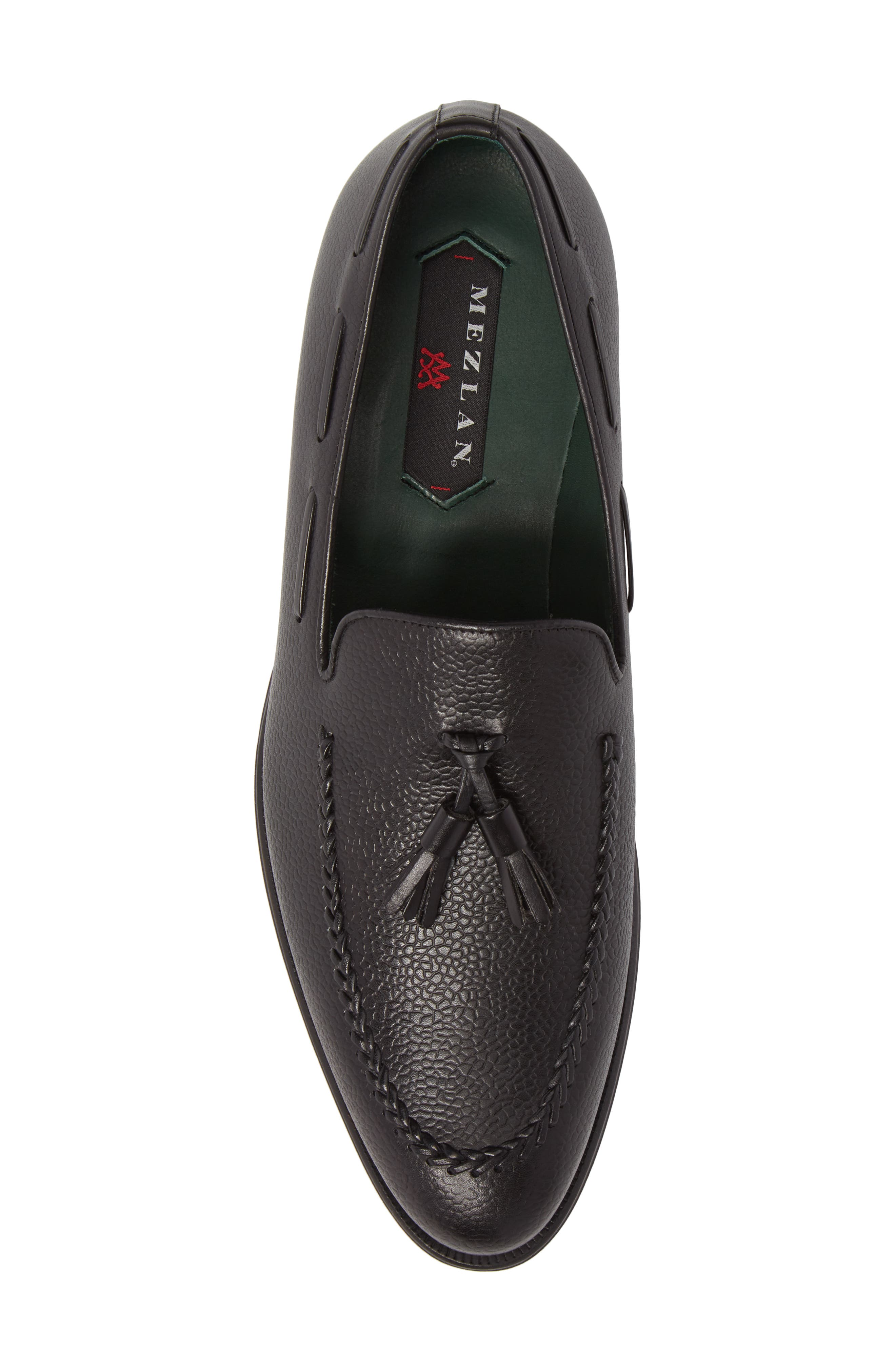 Sabina Tasseled Venetian Loafer,                             Alternate thumbnail 5, color,                             Black Leather