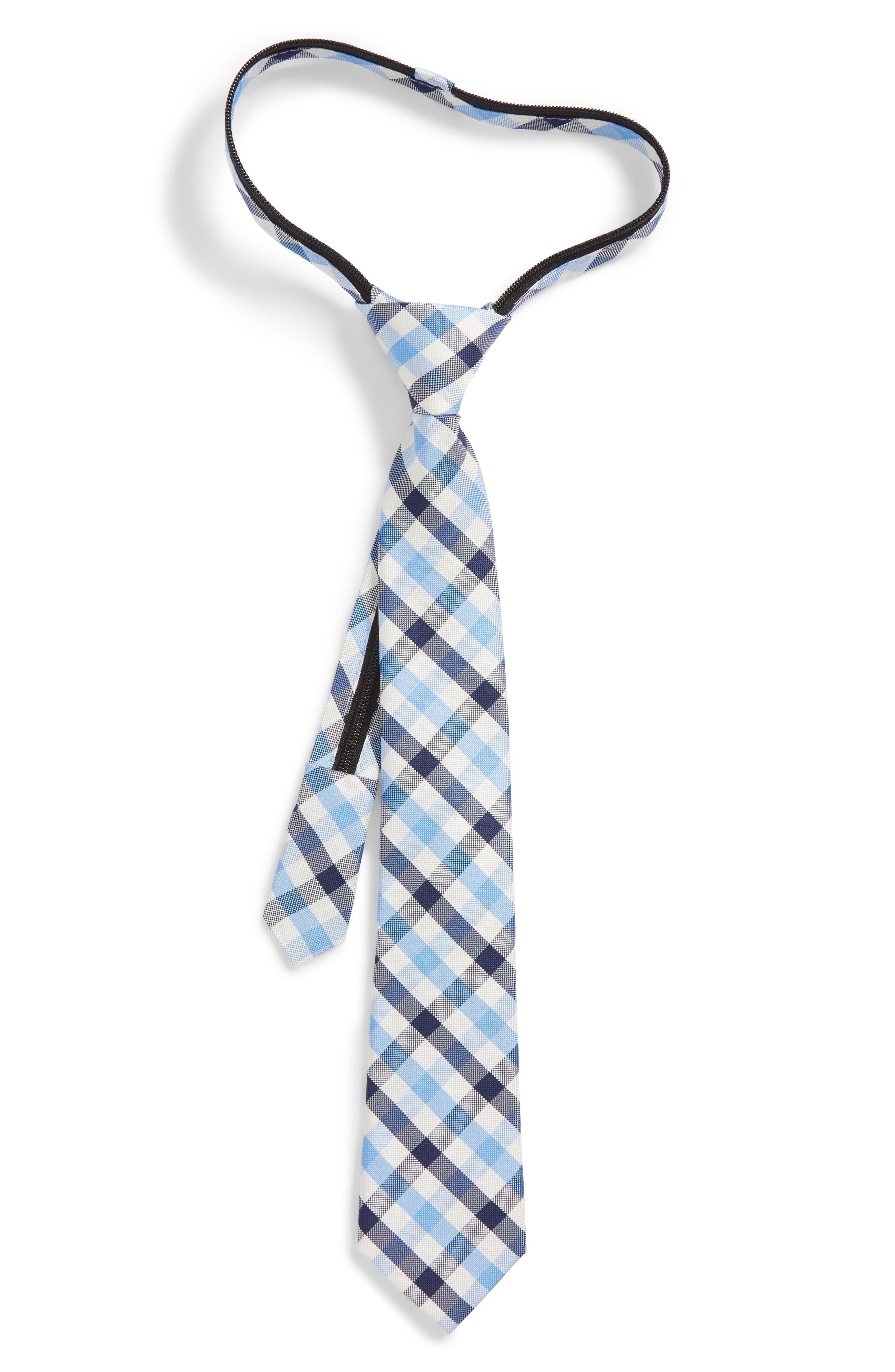 Window Plaid Silk Zip Tie,                         Main,                         color, Light Blue