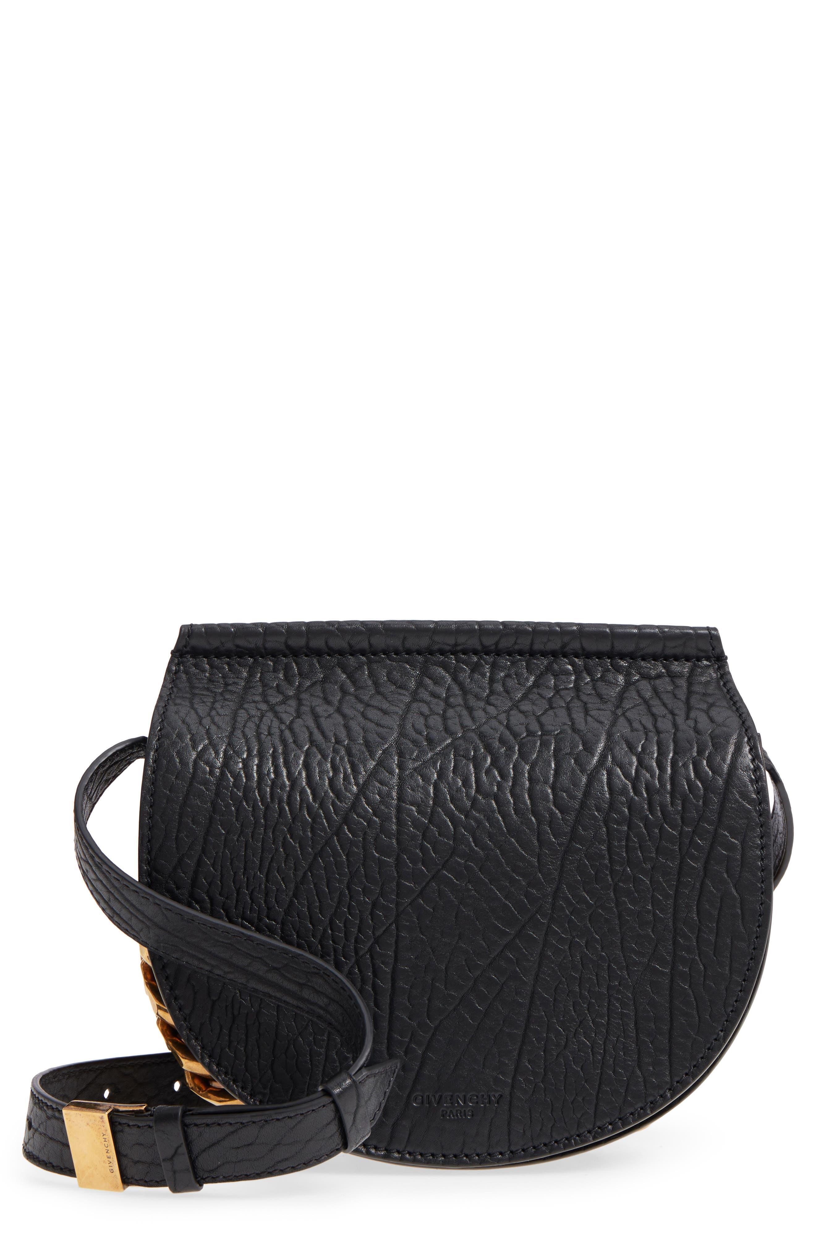 Infinity Calfskin Leather Saddle Bag,                             Main thumbnail 1, color,                             Black