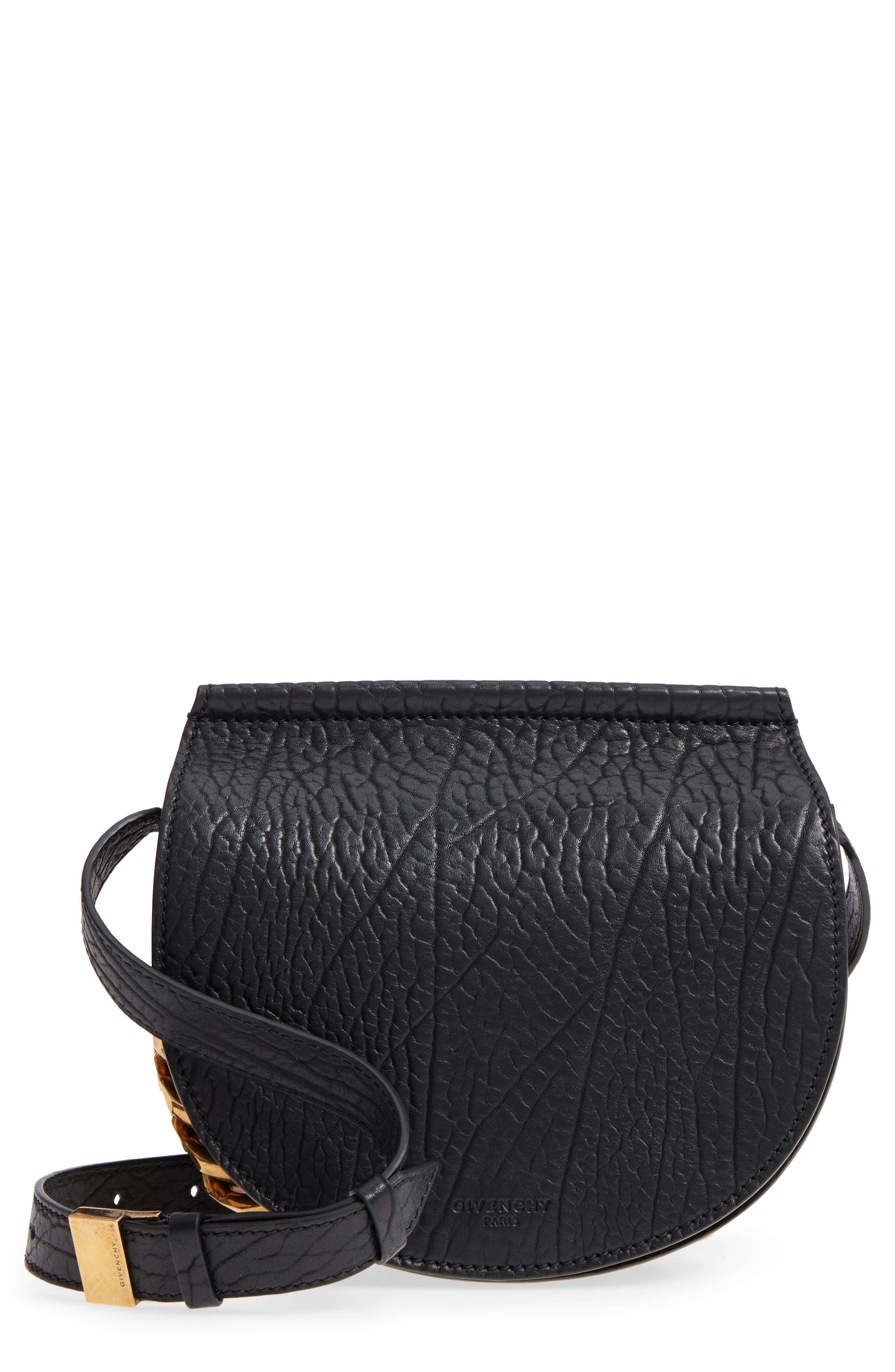 Infinity Calfskin Leather Saddle Bag,                         Main,                         color, Black