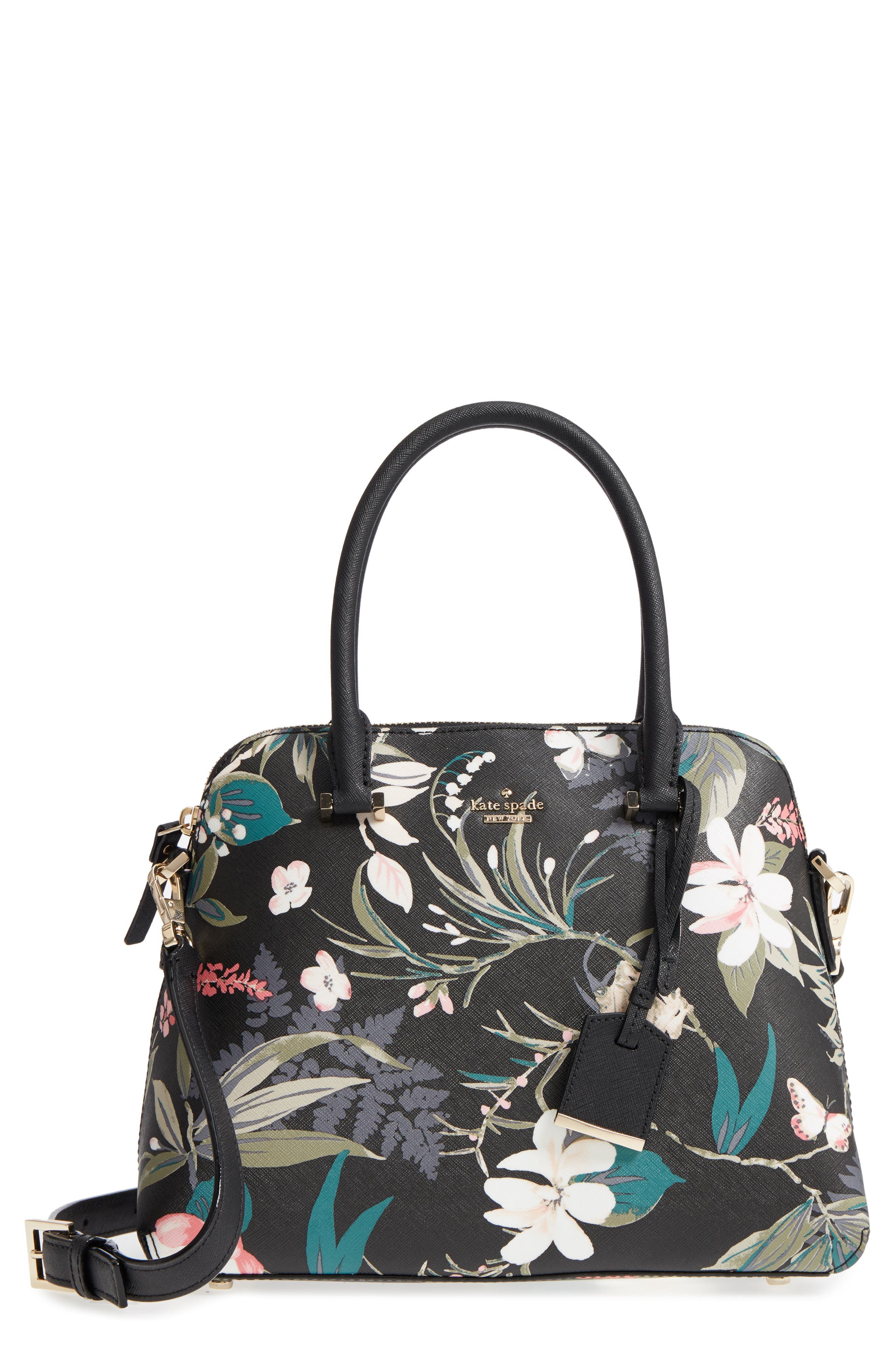 cameron street botanical maise faux leather satchel,                             Main thumbnail 1, color,                             Black Multi