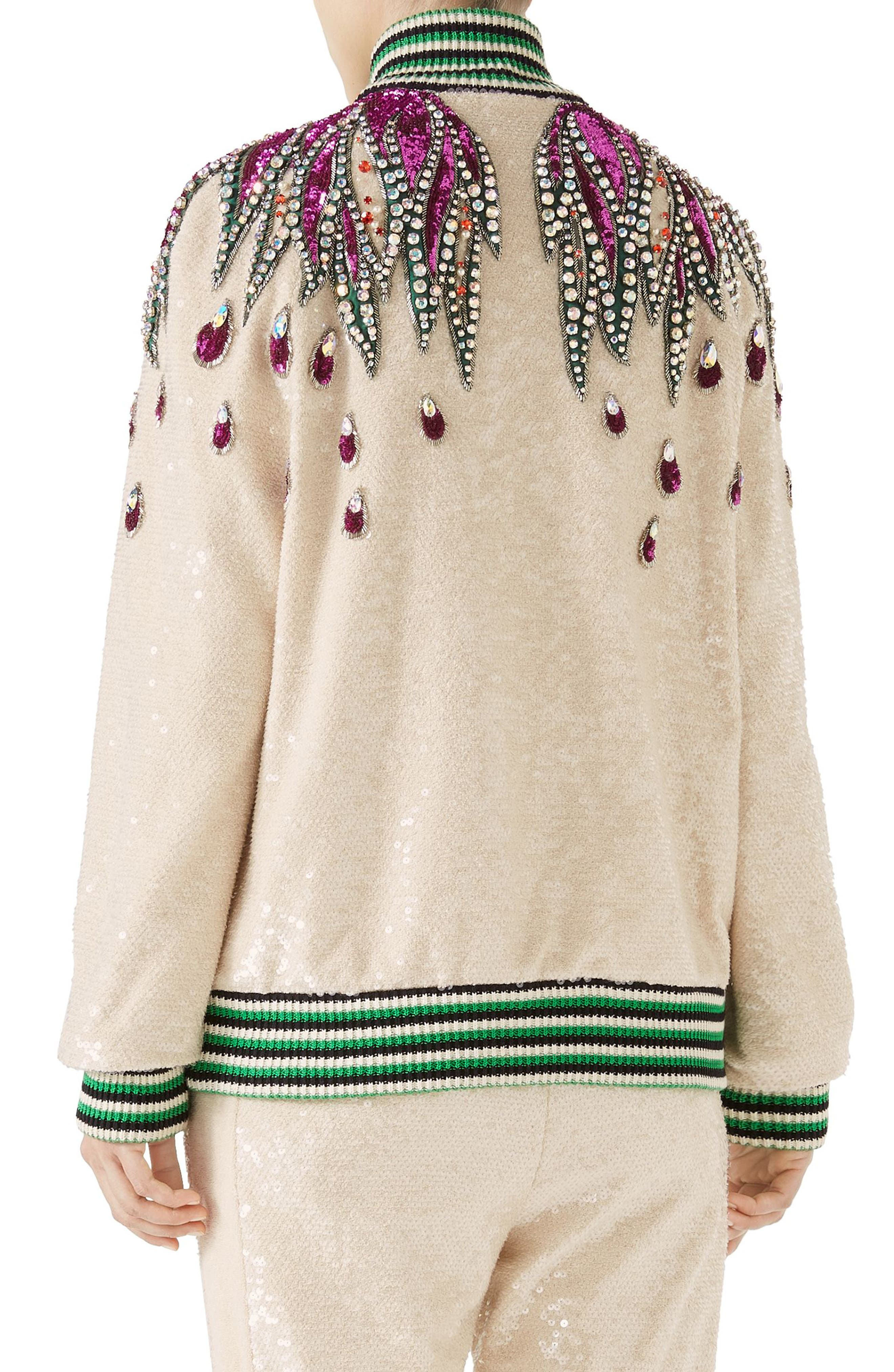 Embellished Track Jacket,                             Alternate thumbnail 2, color,                             Gardenia/ Multicolor