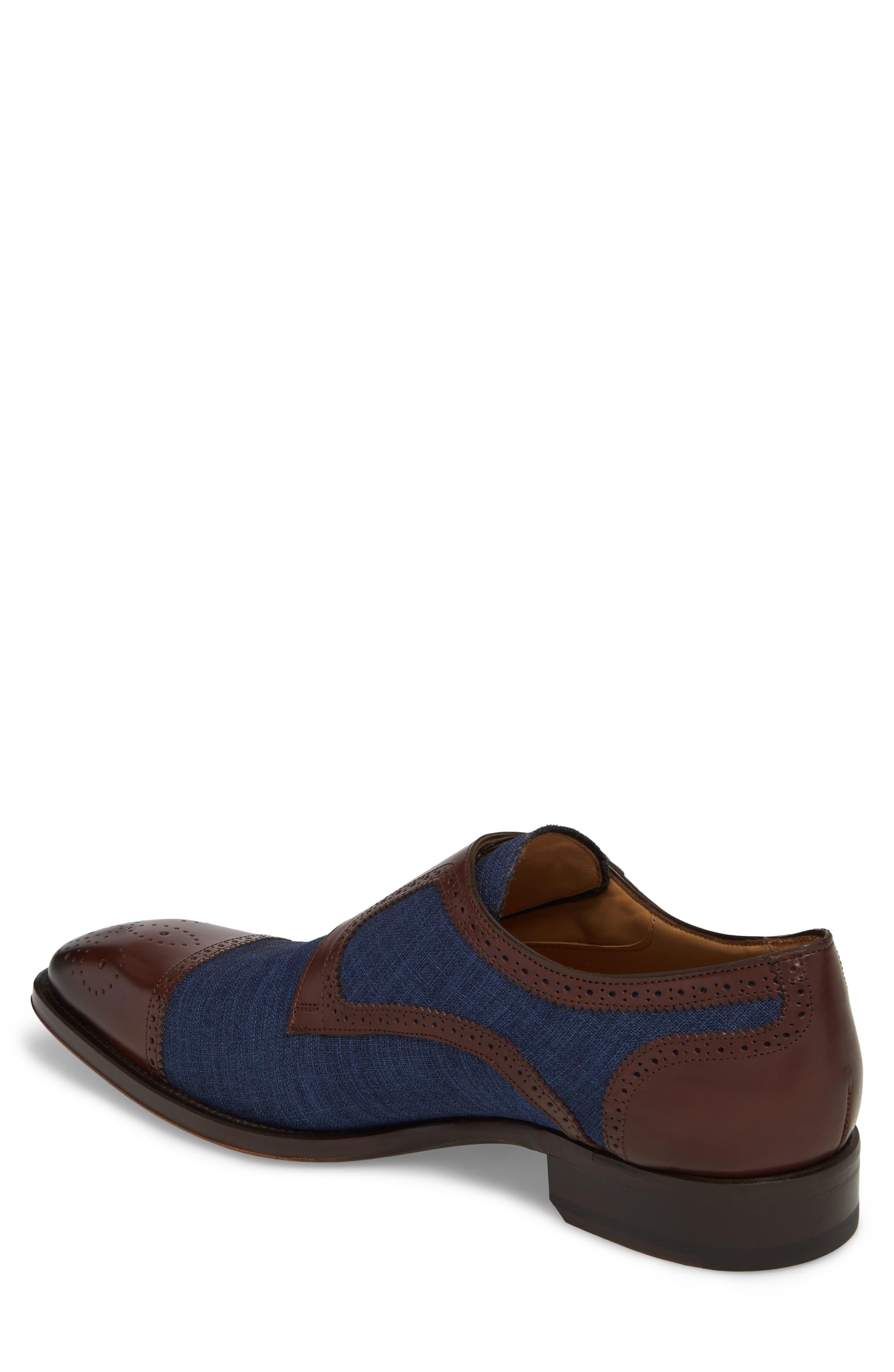 Cupido Double Monk Strap Cap Toe Shoe,                             Alternate thumbnail 2, color,                             Brown/ Blue Leather