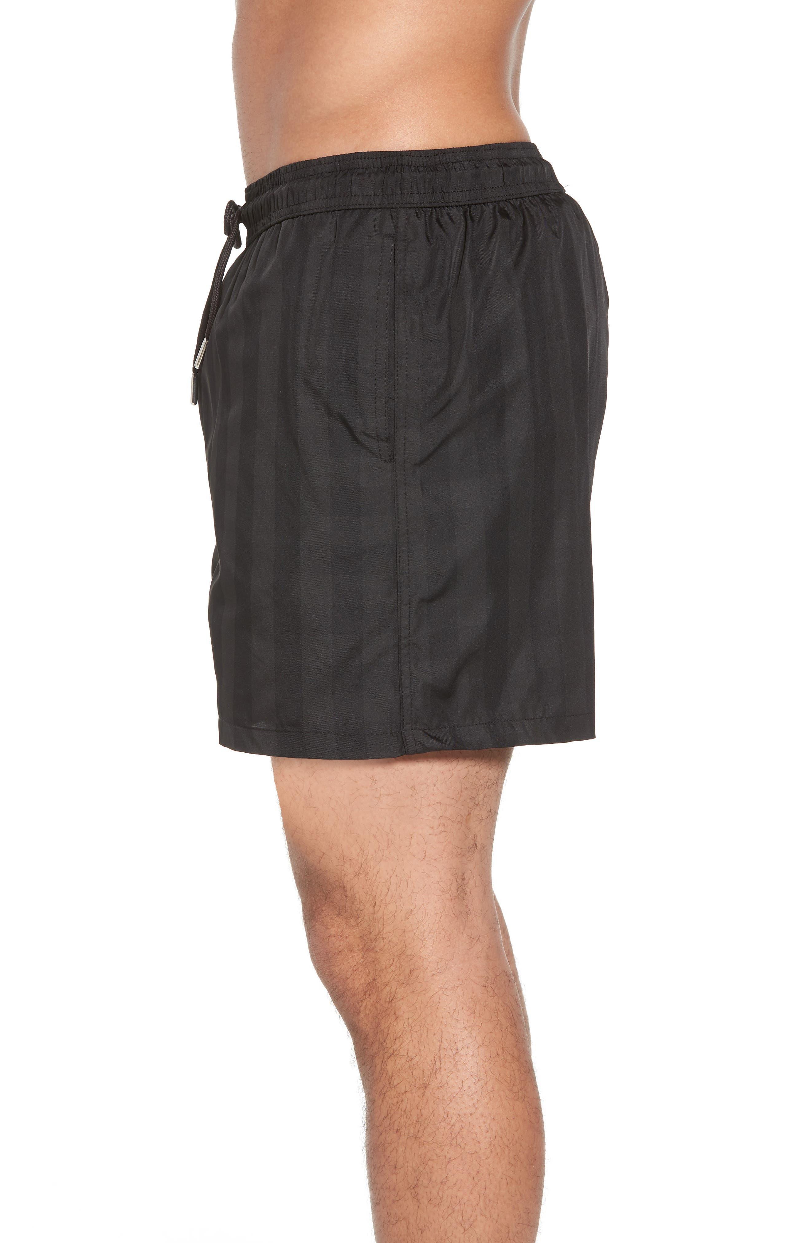 Trim Fit Swim Shorts,                             Alternate thumbnail 3, color,                             Black Plaid