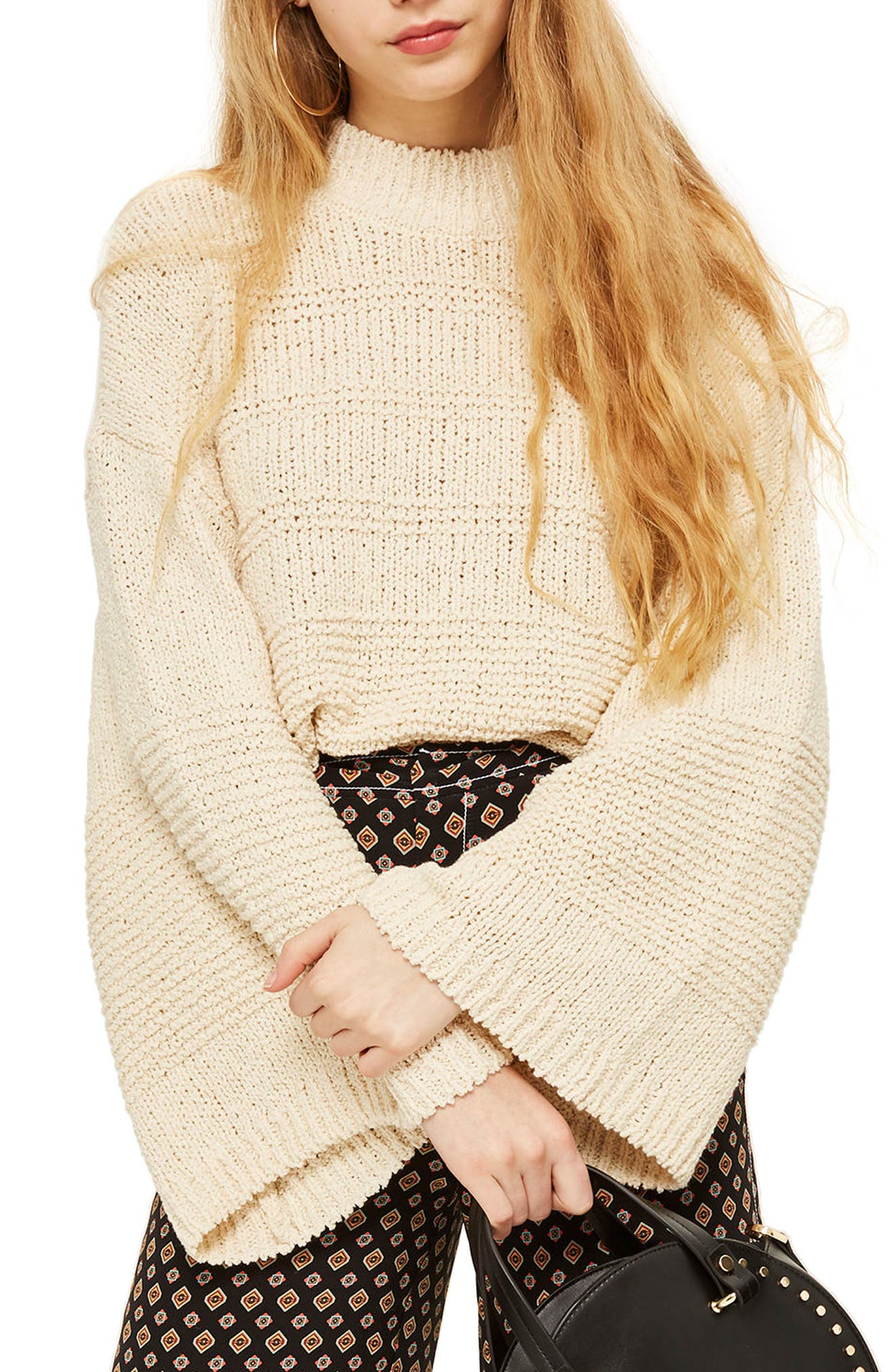 Natural Yarn Bell Sleeve Sweater,                         Main,                         color, Ivory