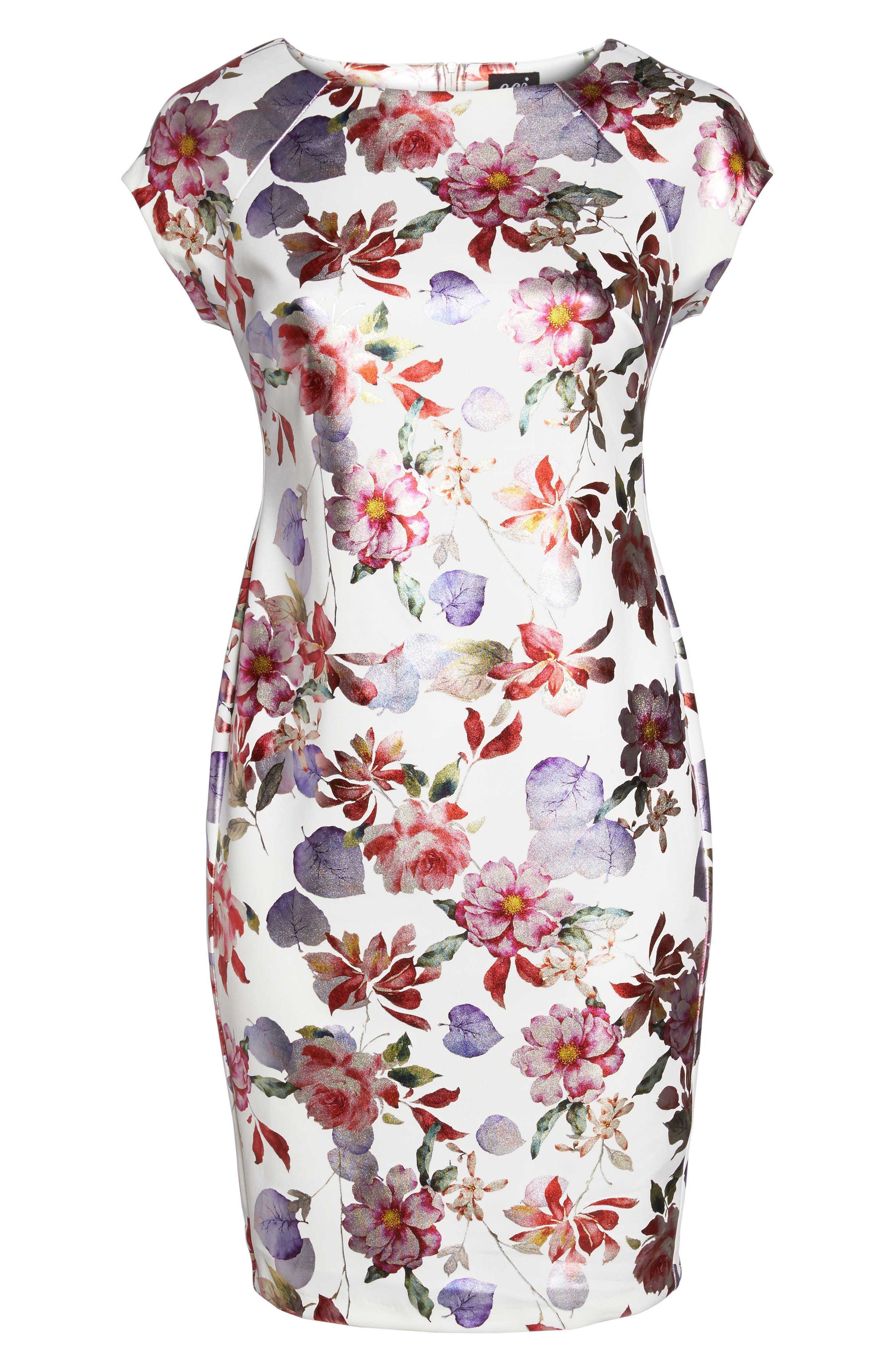 Foil Print Sheath Dress,                             Alternate thumbnail 6, color,                             Pink/ Purple