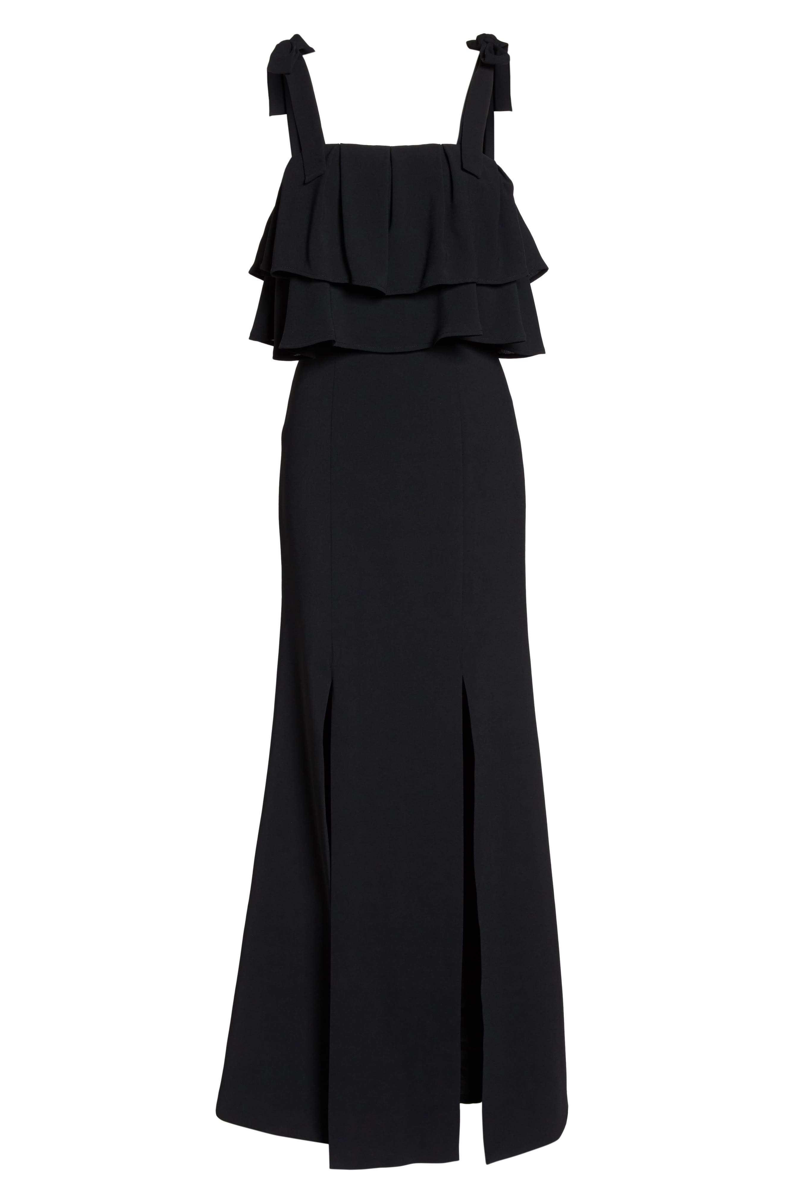 Be About You Ruffle Bodice Gown,                             Alternate thumbnail 6, color,                             Black