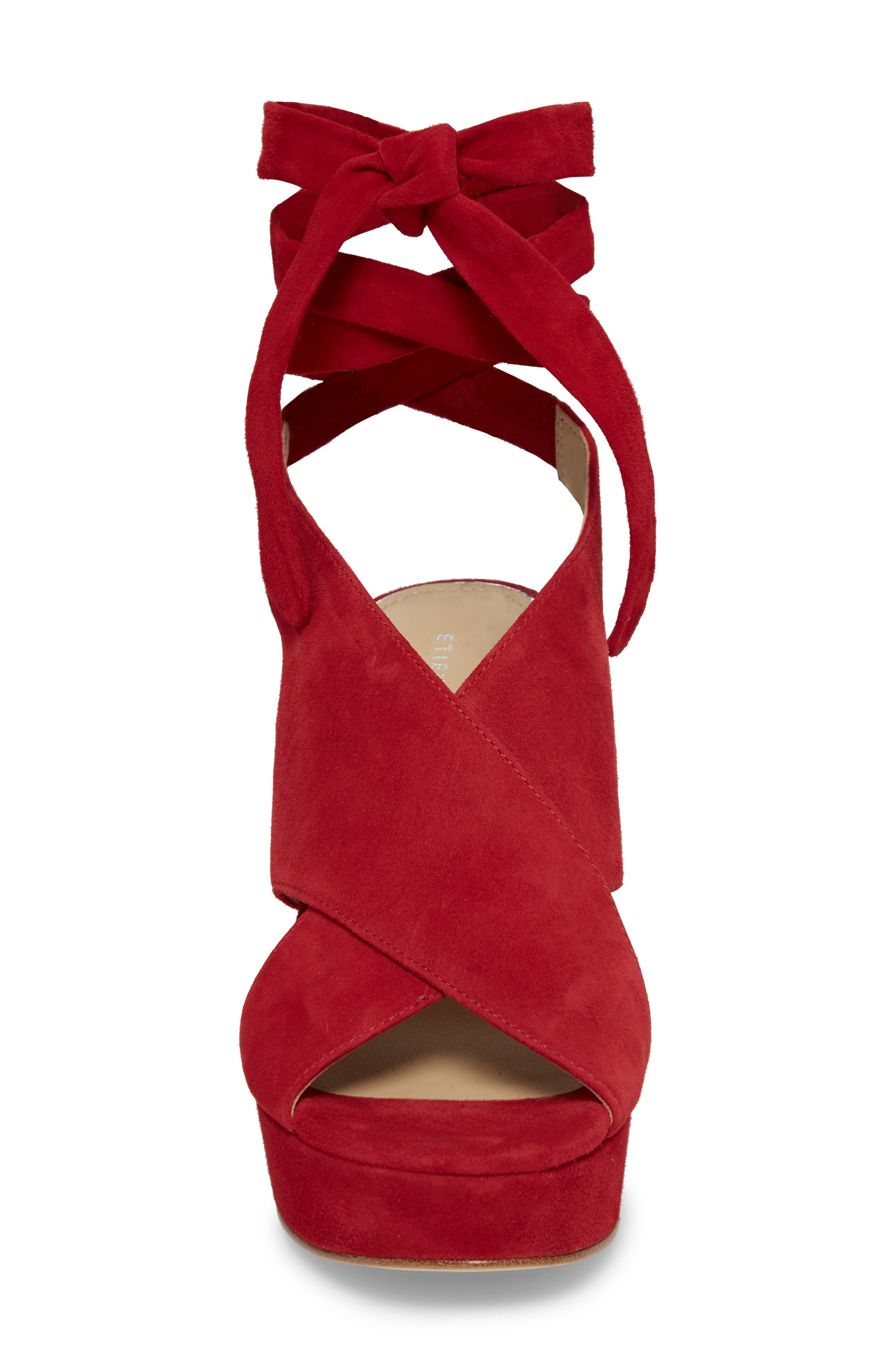 Dominica Platform Wedge Sandal,                             Alternate thumbnail 4, color,                             Cherry Suede