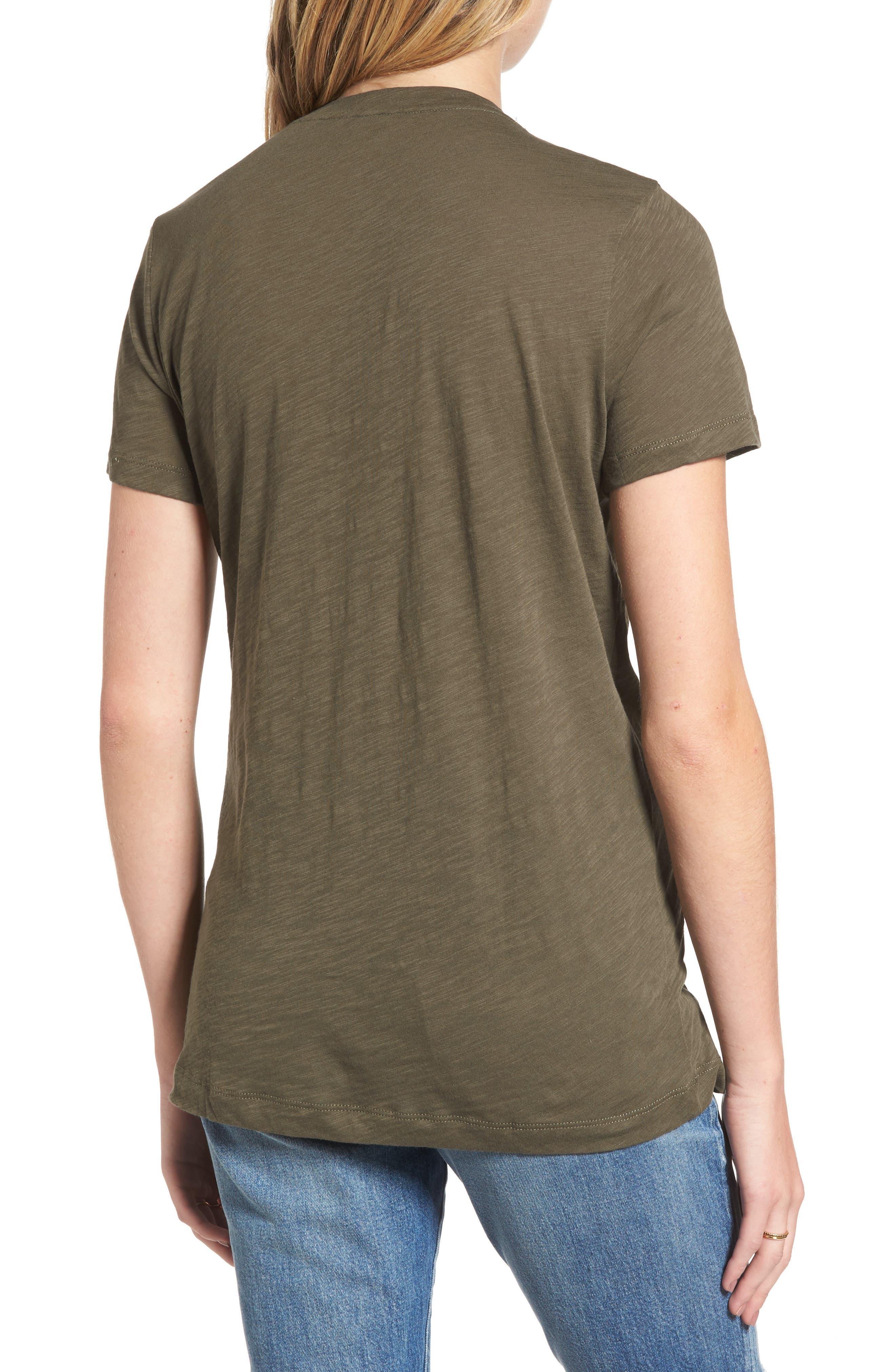 Whisper Cotton V-Neck Pocket Tee,                             Alternate thumbnail 2, color,                             Cargo Green