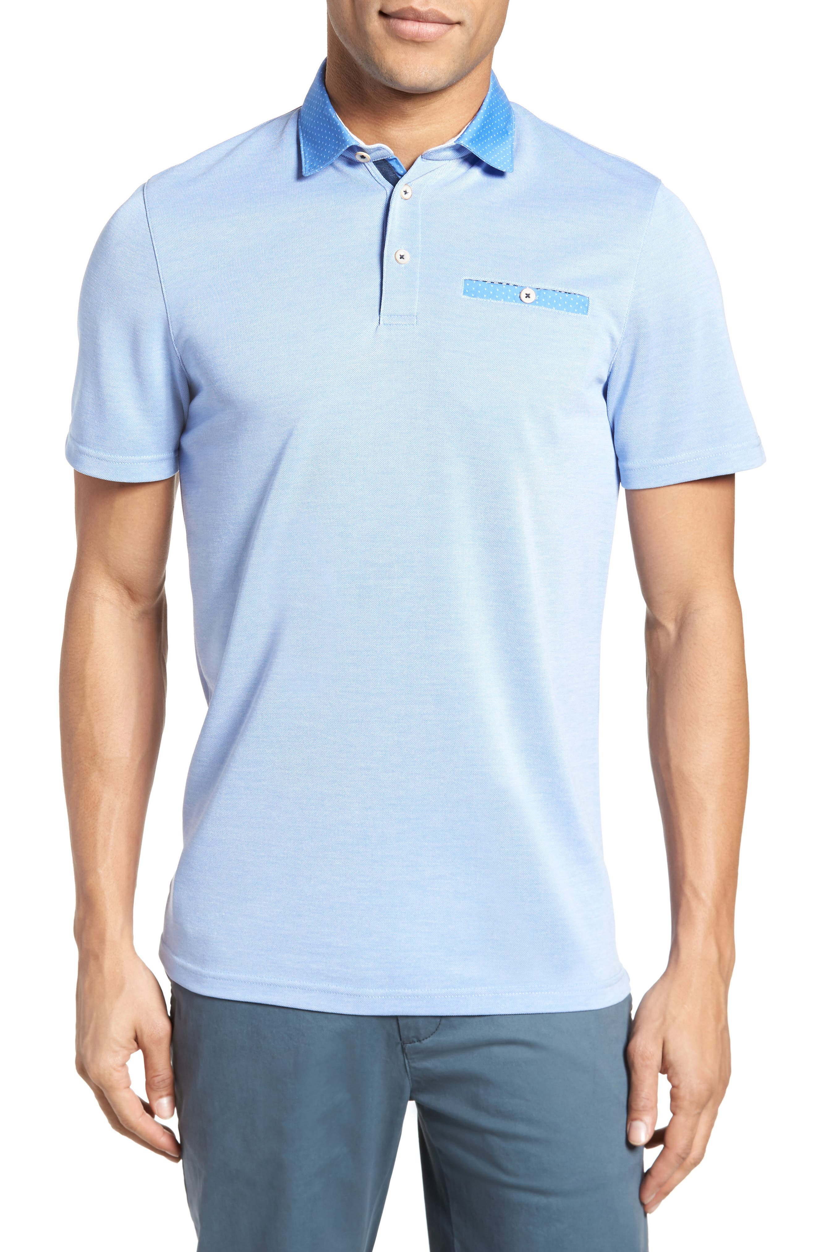 Mikeytt Trim Fit Polo,                             Main thumbnail 1, color,                             Bright Blue