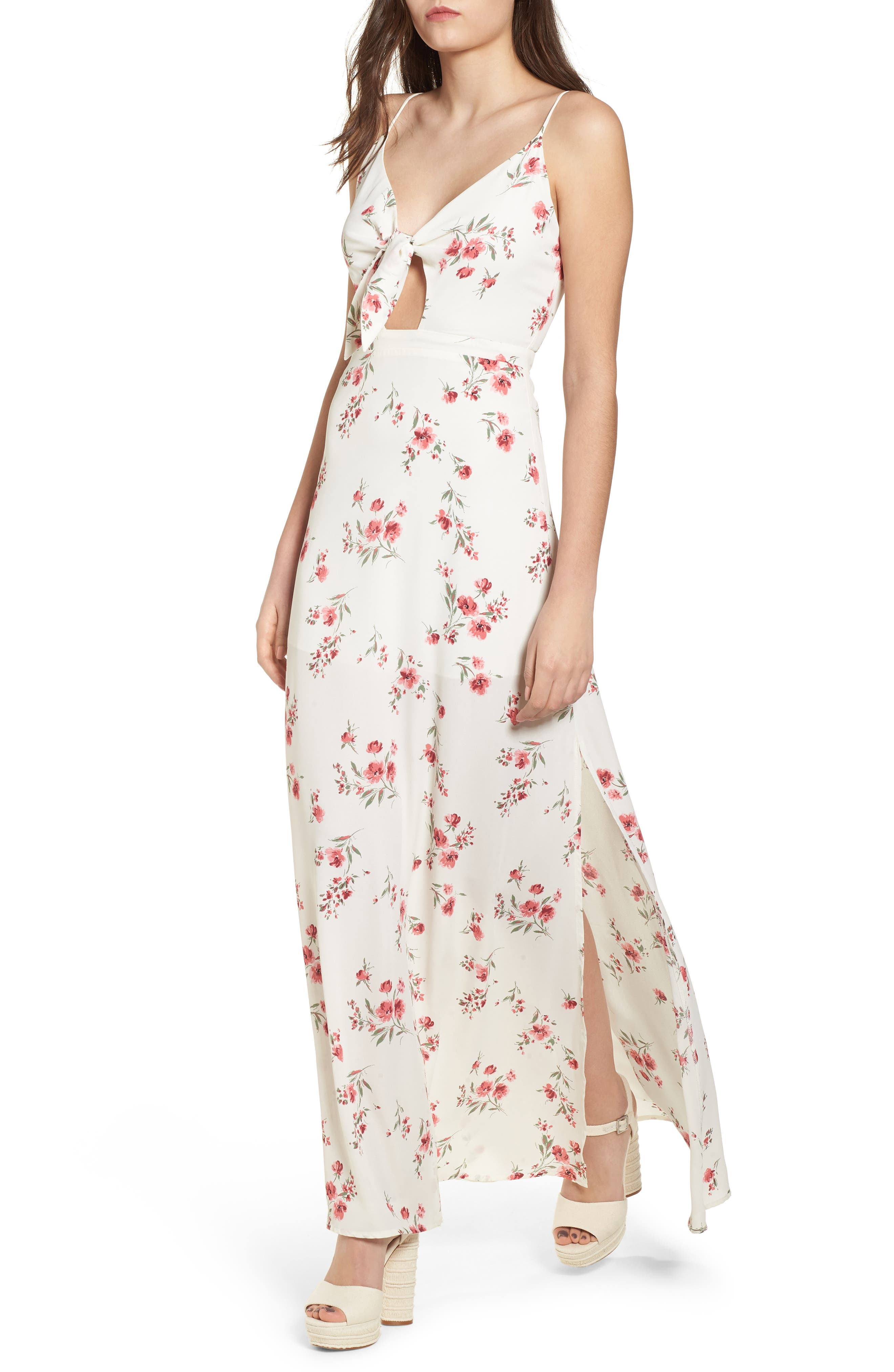 Tie Front Maxi Dress,                             Main thumbnail 1, color,                             Ivory Floral
