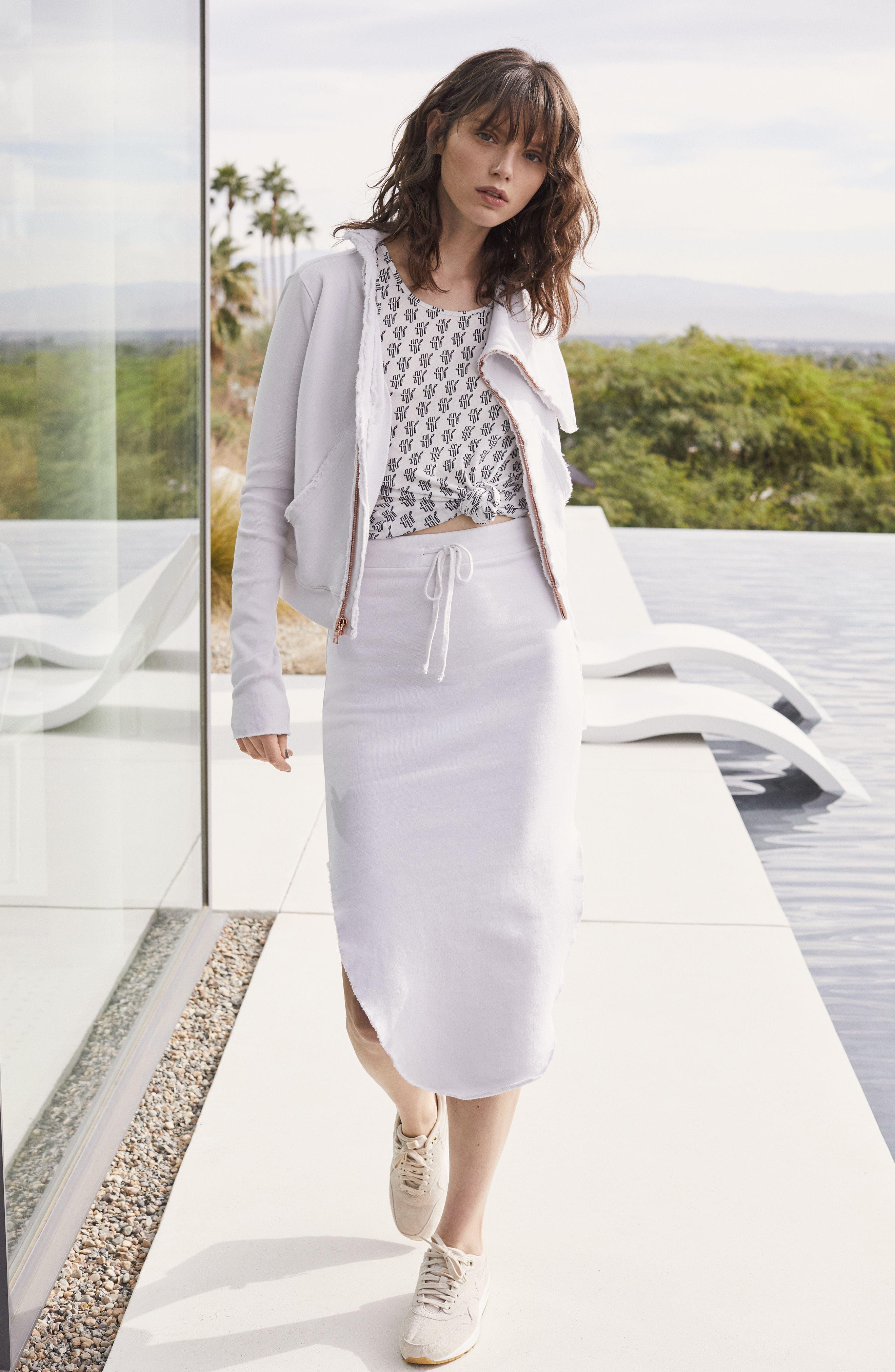 Midi Fleece Skirt,                             Alternate thumbnail 2, color,                             Dirty White